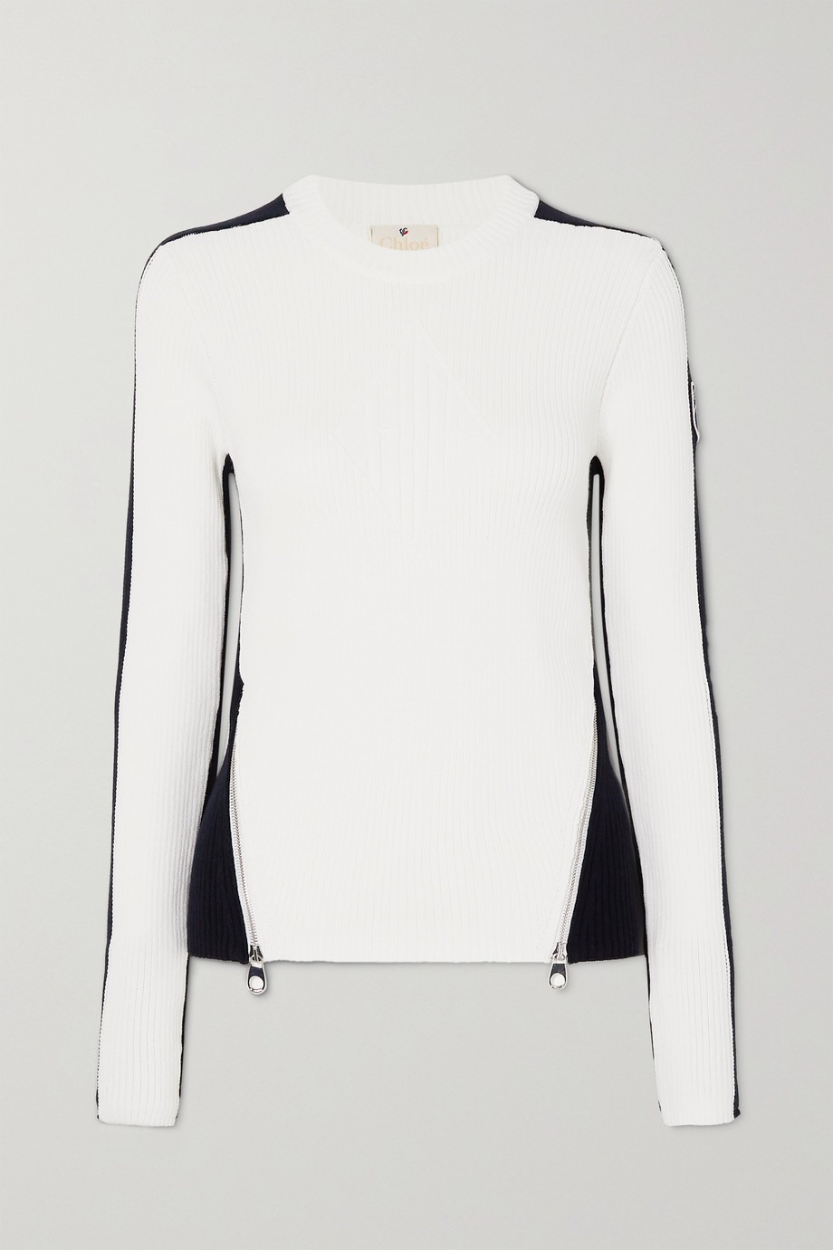 CHLOÉ + Fusalp zip-embellished two-tone ribbed wool sweater