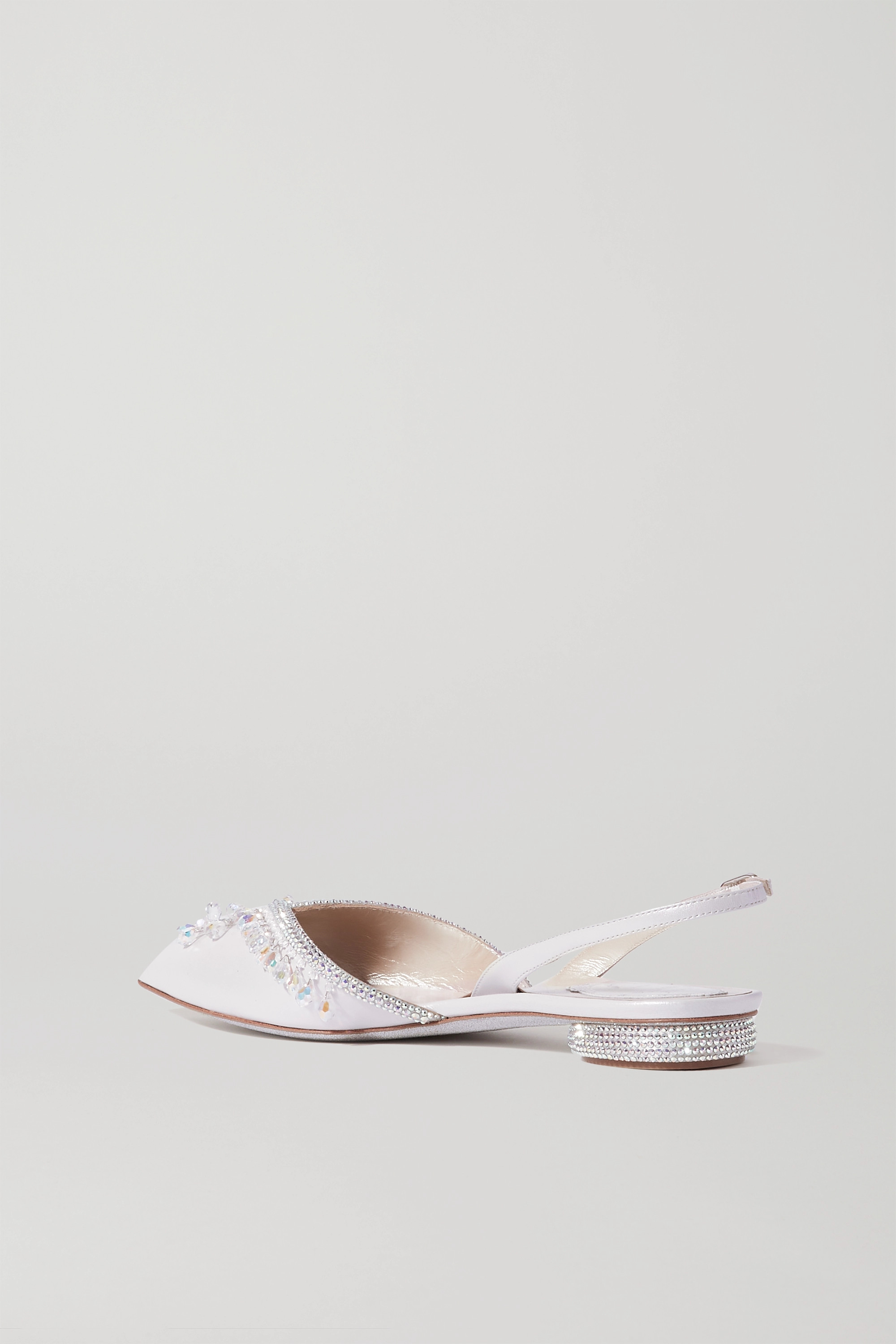 RENÉ CAOVILLA Crystal-embellished cutout leather point-toe flats