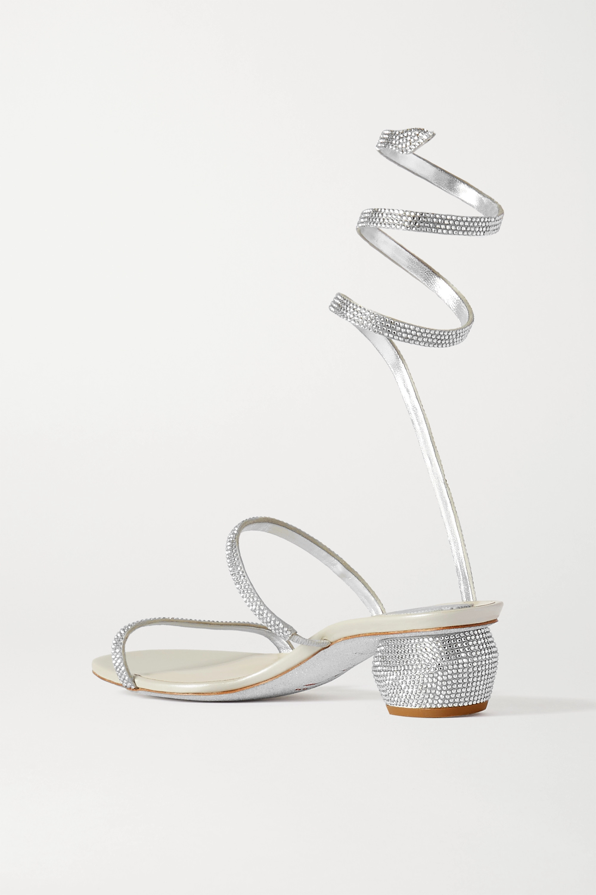 RENÉ CAOVILLA Cleo crystal-embellished metallic leather sandals