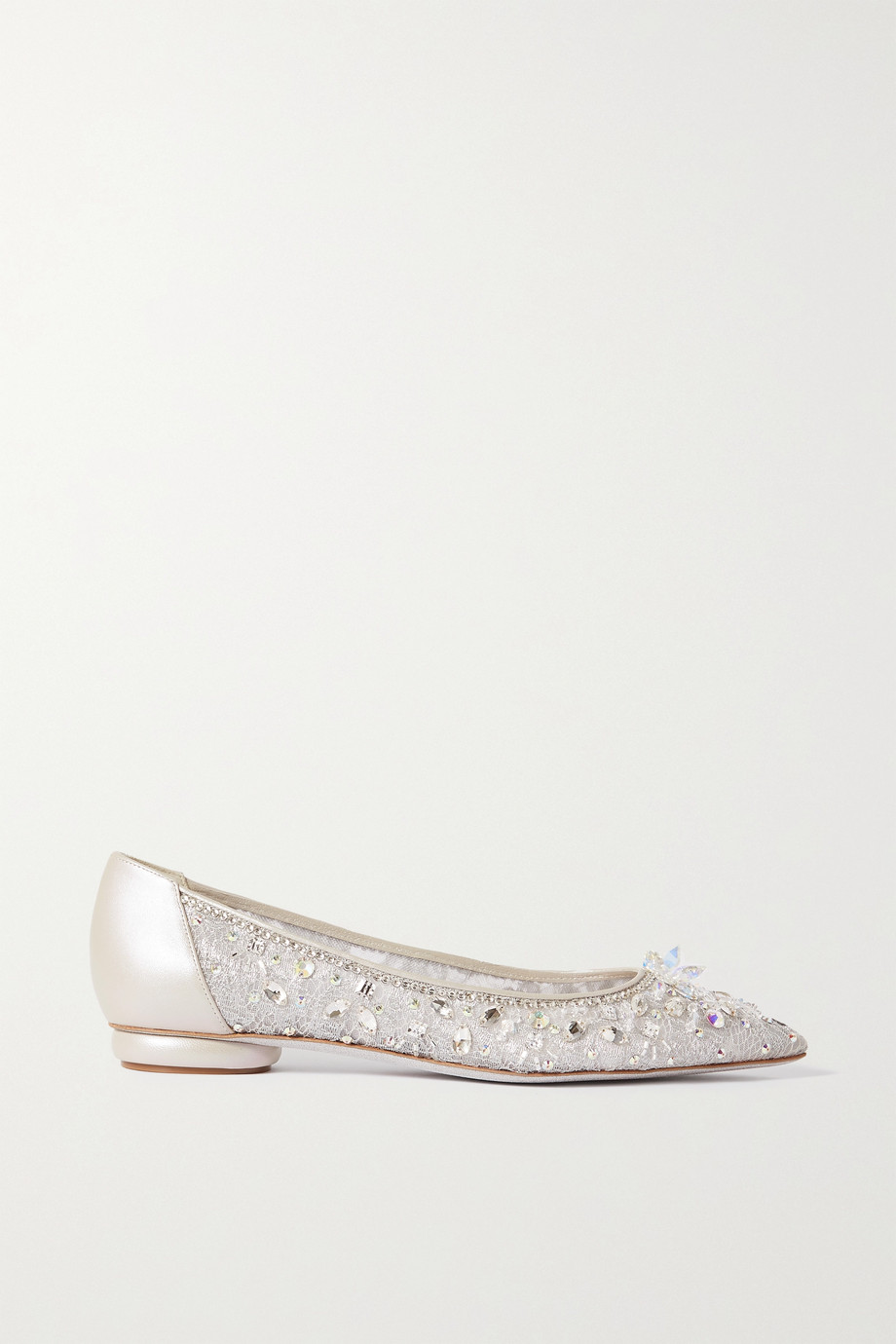 RENÉ CAOVILLA Crystal-embellished leather-trimmed lace point-toe flats