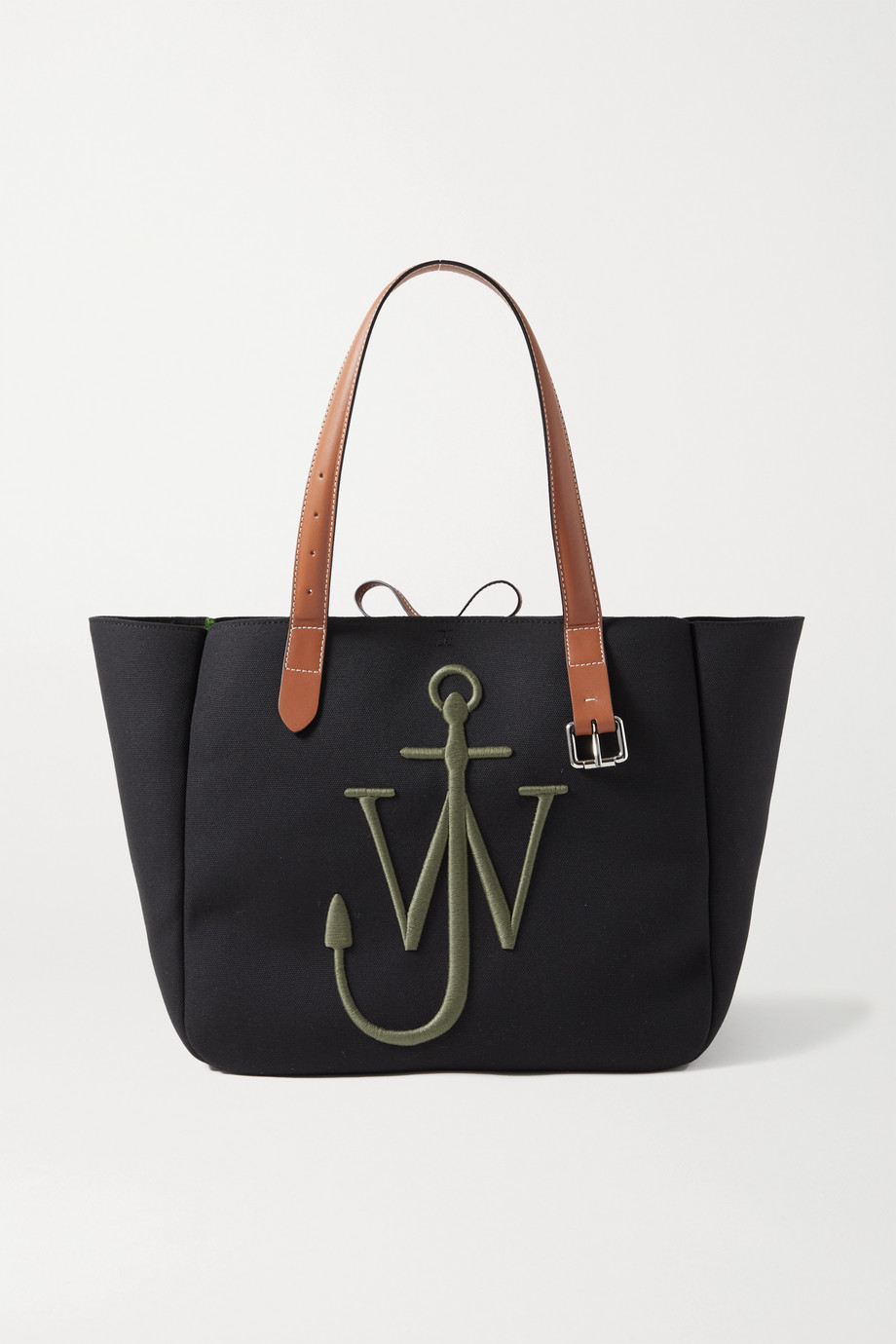 JW앤더슨 JW Anderson Leather-trimmed embroidered canvas tote,Black