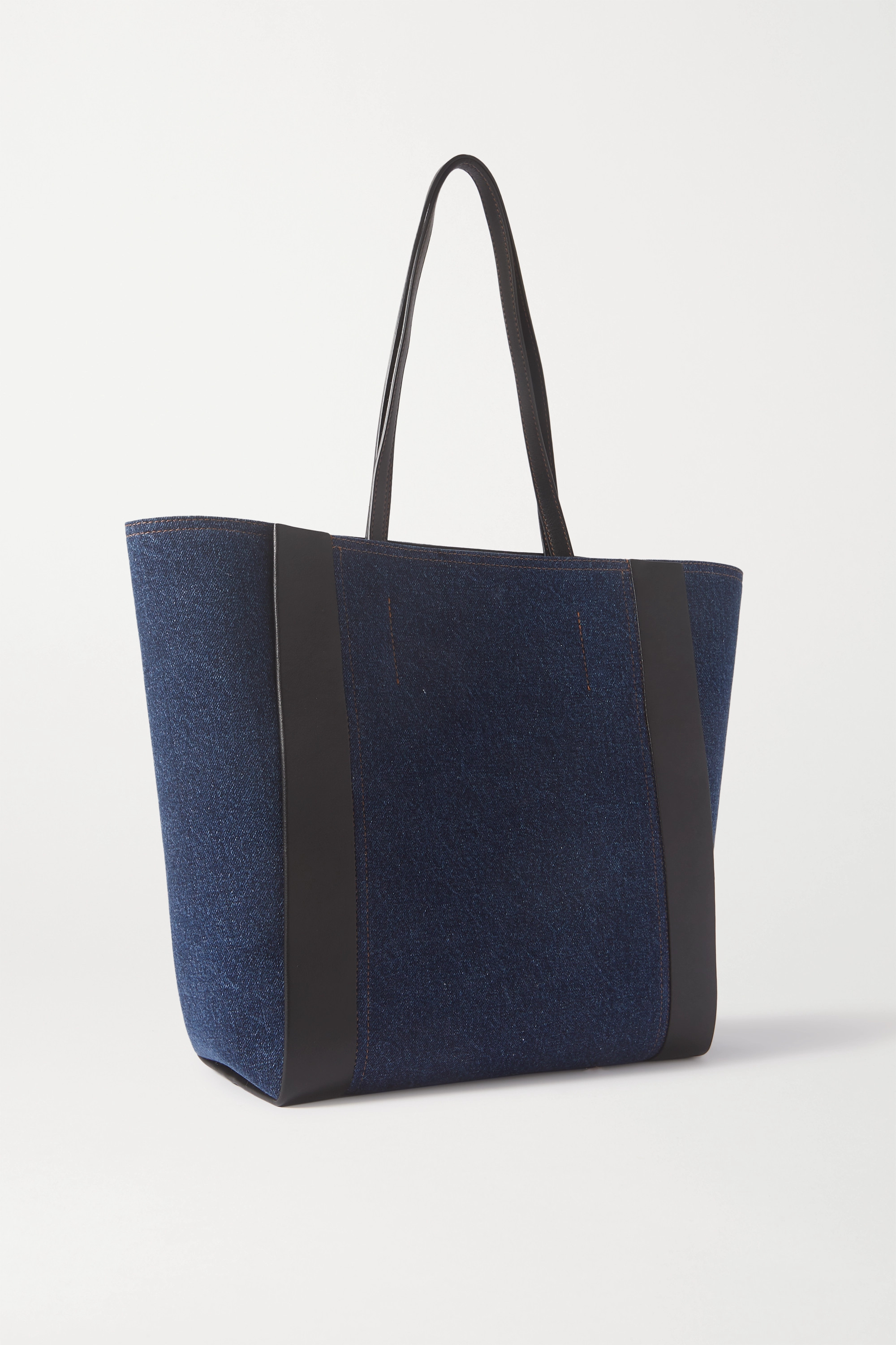 ALEXANDER MCQUEEN Signature leather-trimmed printed denim tote
