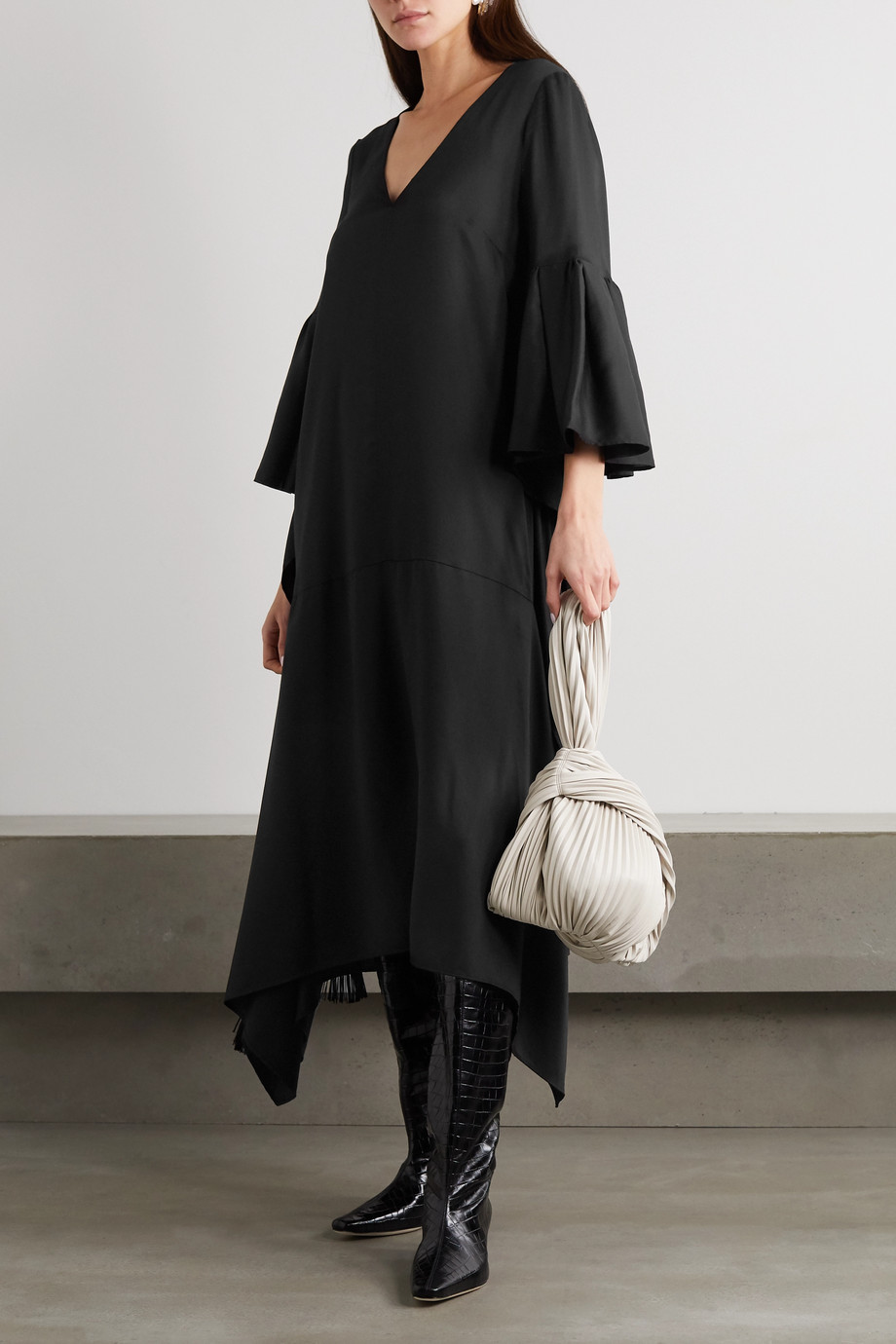 MOTHER OF PEARL + NET SUSTAIN Melody fringed draped Lyocell midi dress
