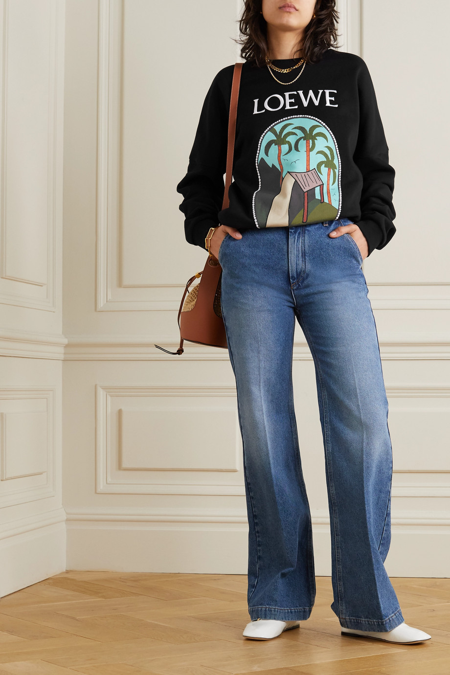 LOEWE + Ken Price Le Palme embroidered printed cotton-jersey sweatshirt