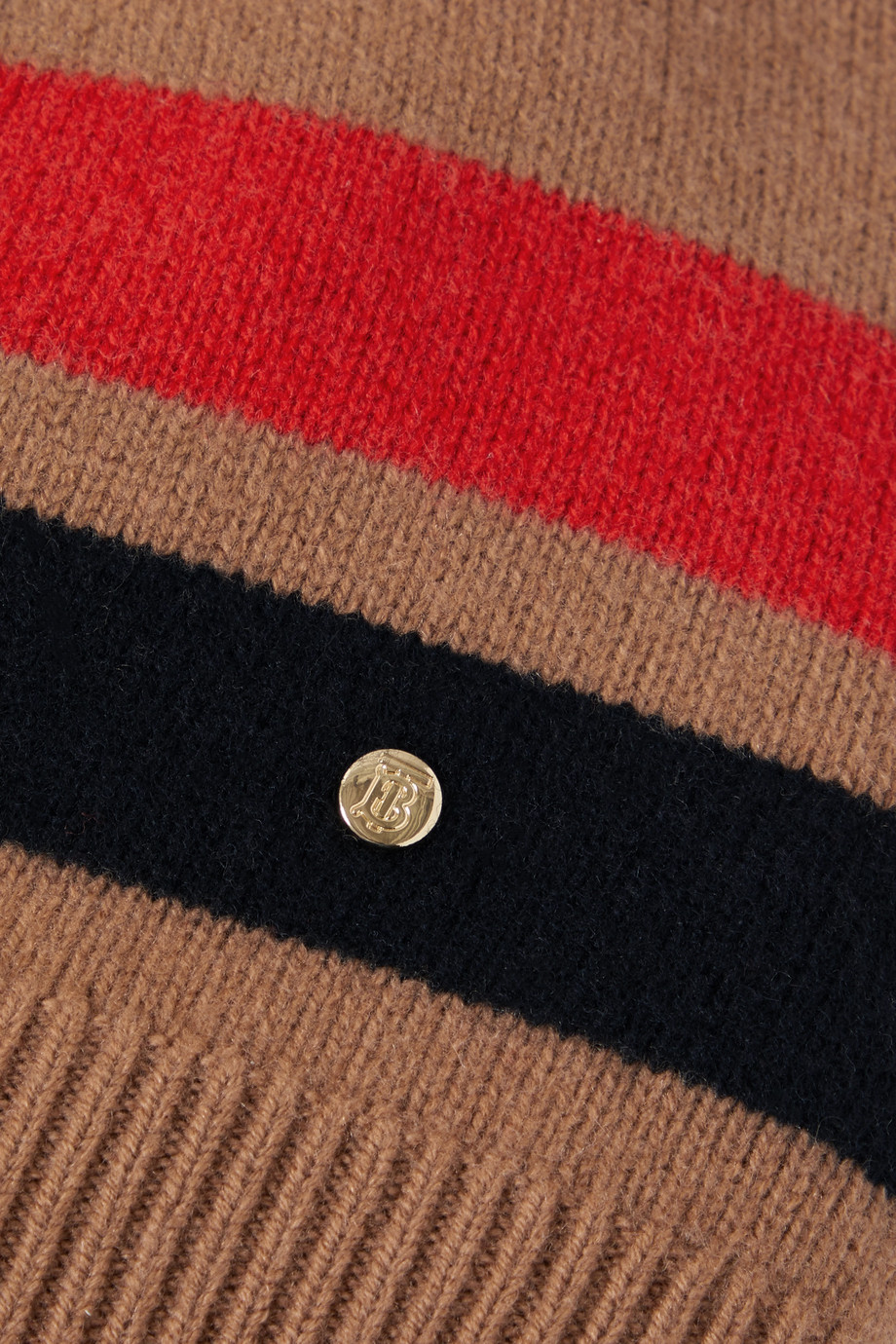 BURBERRY Striped merino wool and cashmere-blend beanie