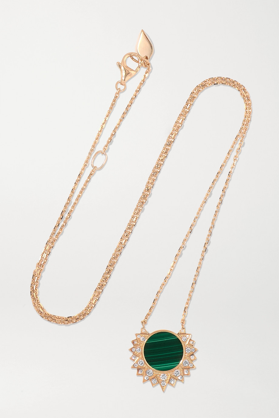 PIAGET Sunlight 18-karat rose gold, malachite and diamond necklace