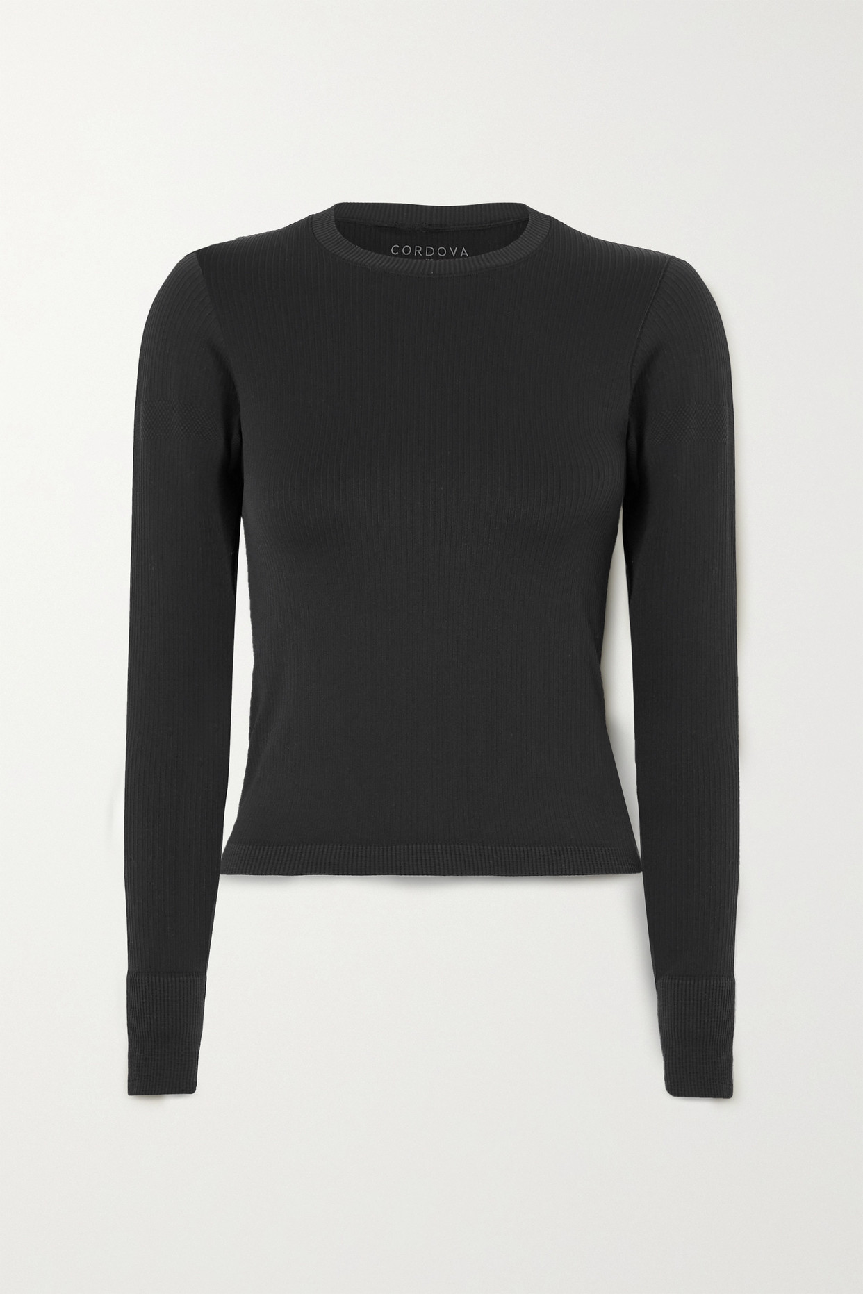 CORDOVA - Signature Ribbed Stretch-knit Top - Black - XS/S