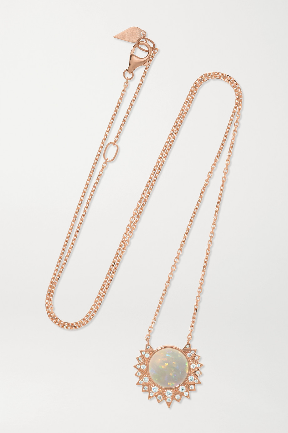 PIAGET Sunlight 18-karat rose gold, opal and diamond necklace