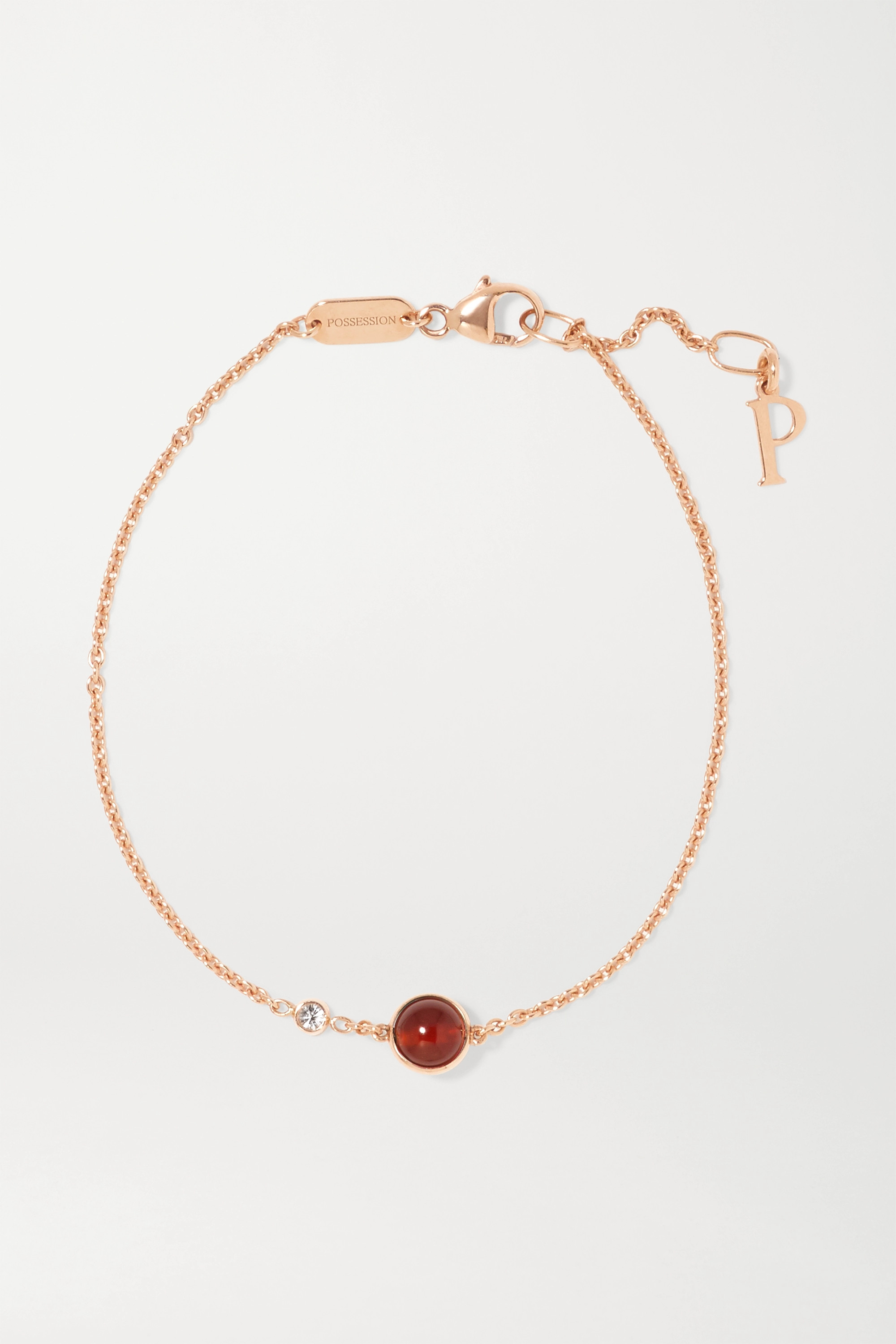 PIAGET Possession 18-karat rose gold, carnelian and diamond bracelet