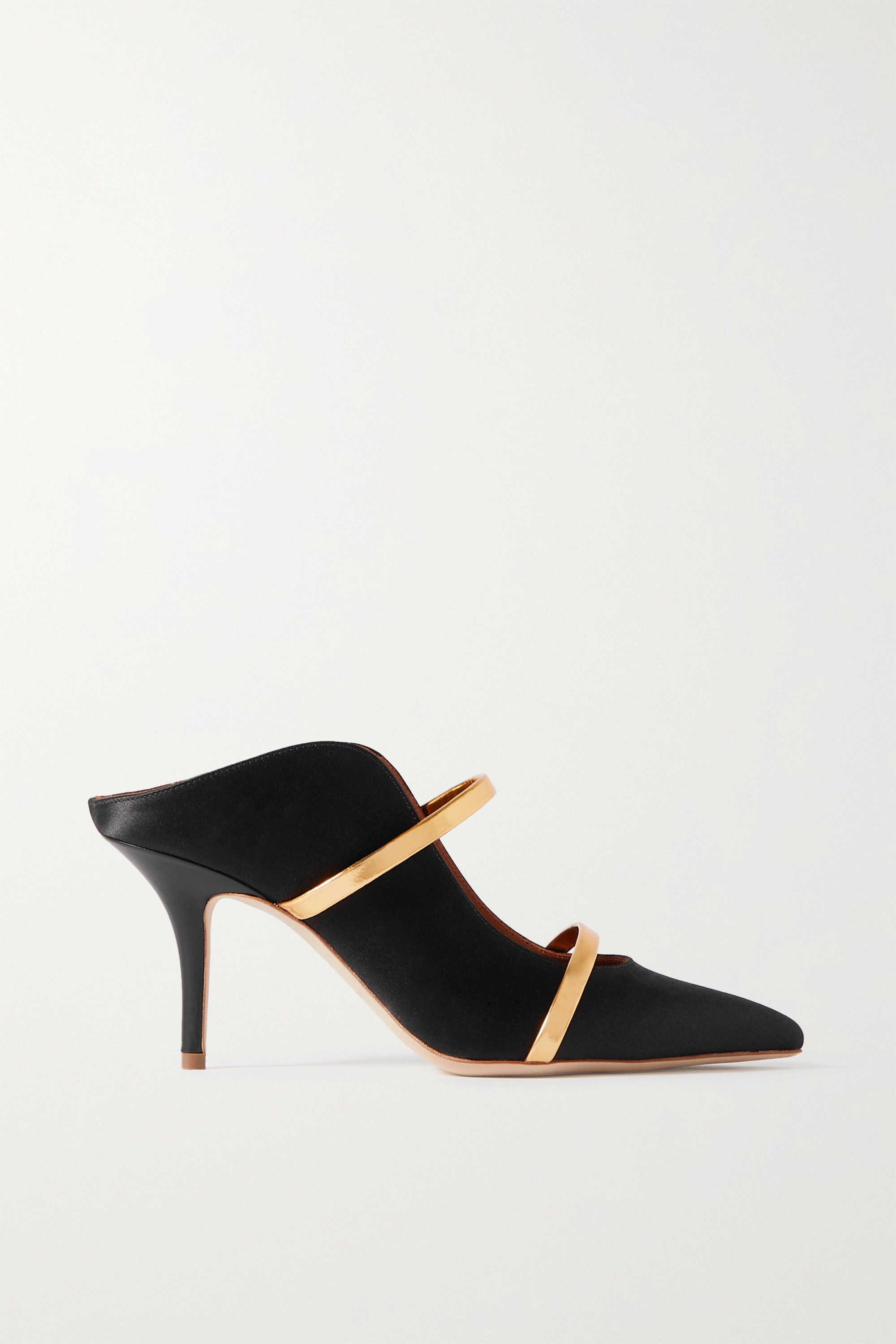 MALONE SOULIERS Maureen 70 metallic leather-trimmed satin mules