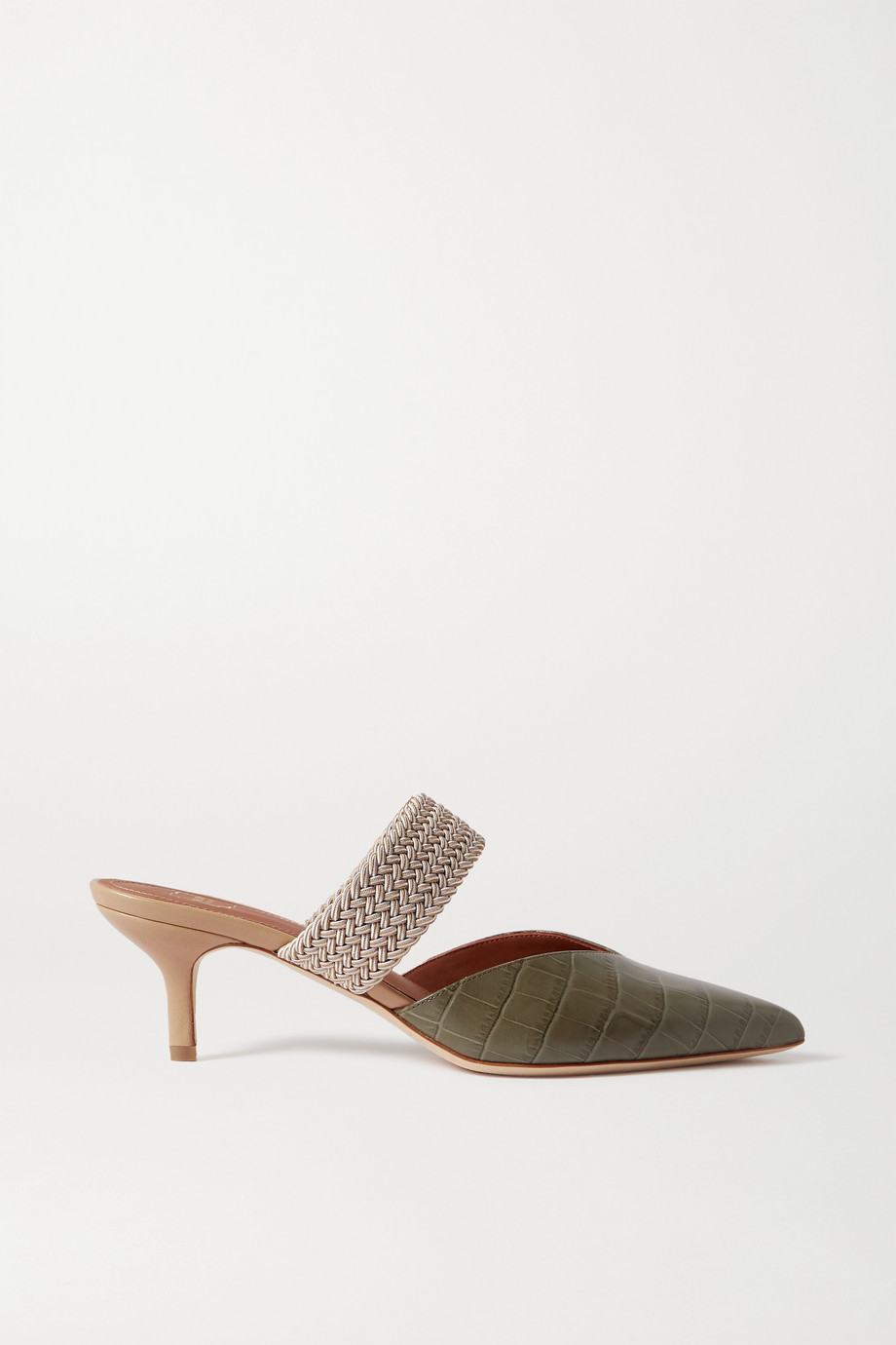 MALONE SOULIERS Maisie 45 cord-trimmed croc-effect leather mules
