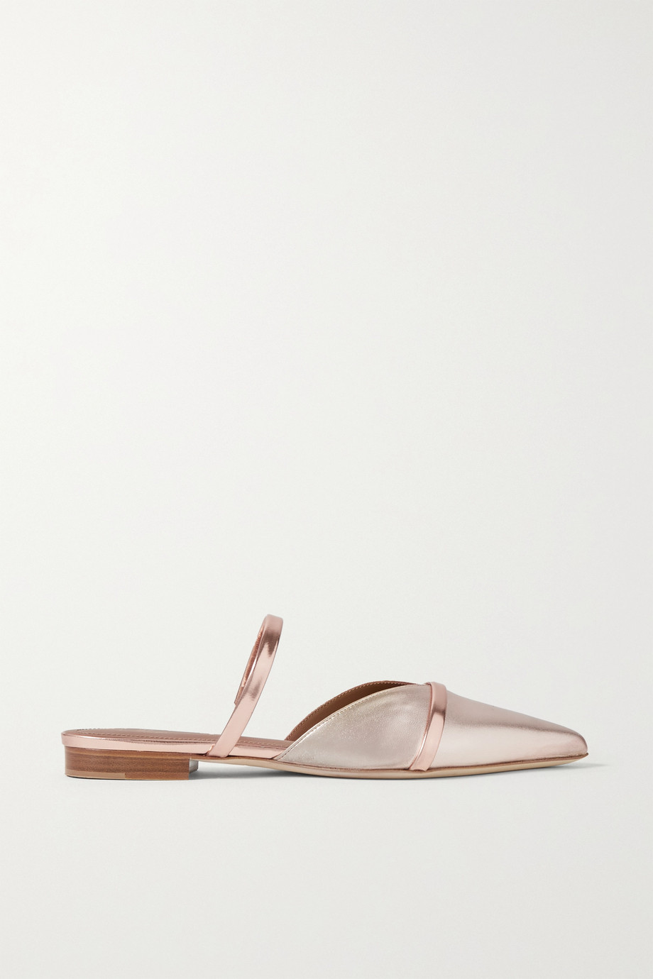 MALONE SOULIERS Frankie metallic leather point-toe flats