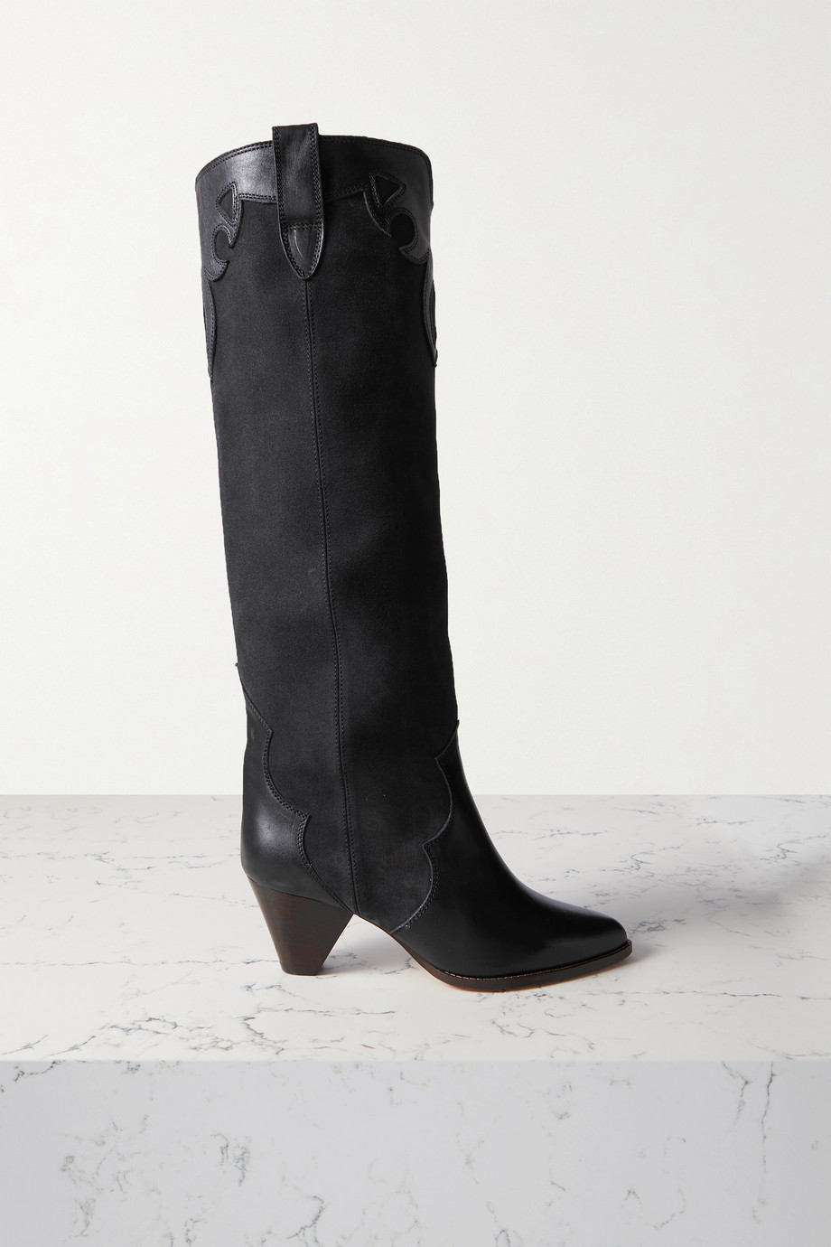 ISABEL MARANT Litz leather-trimmed suede knee boots