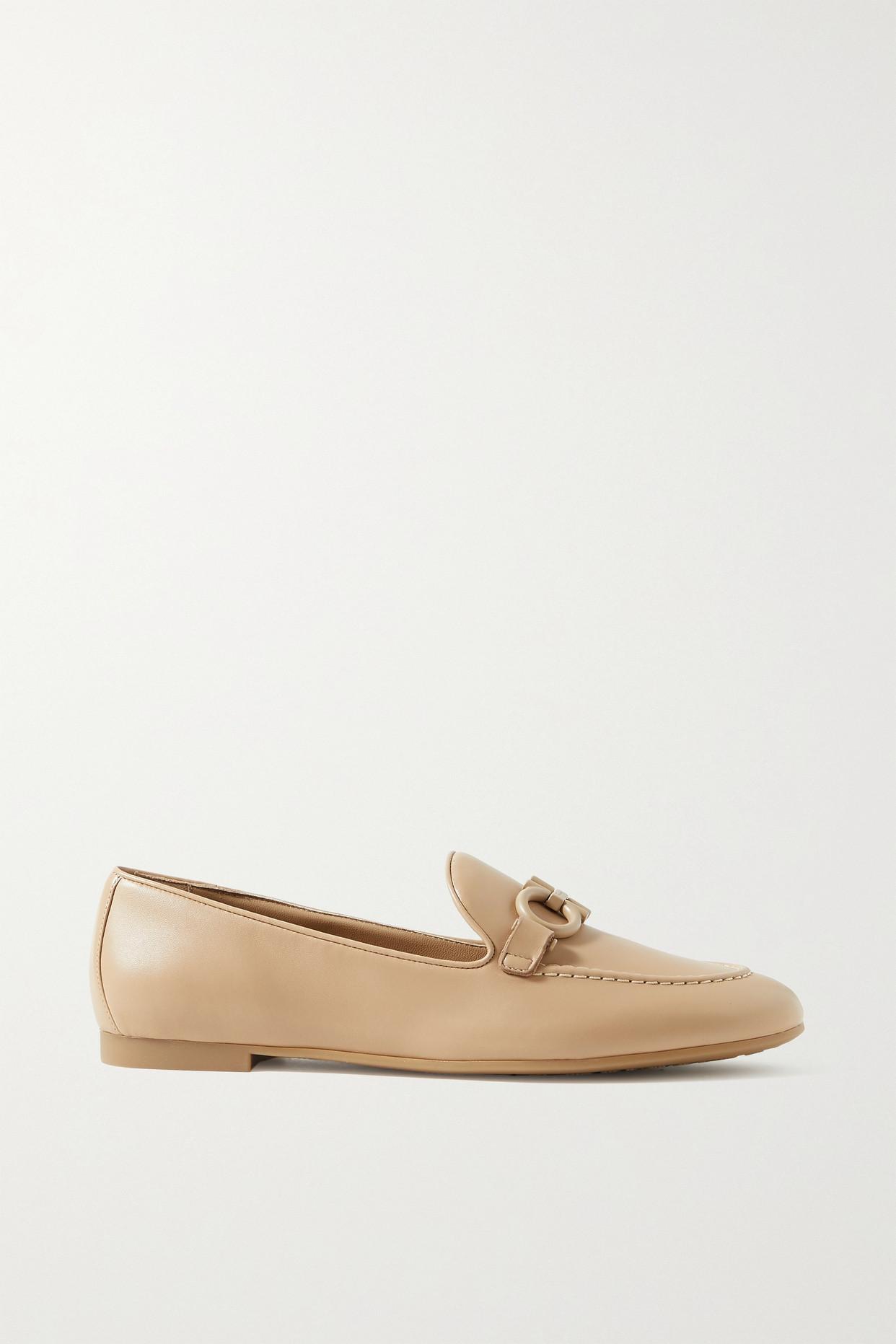 SALVATORE FERRAGAMO - Trifoglio Embellished Leather Loafers - Neutrals - US10