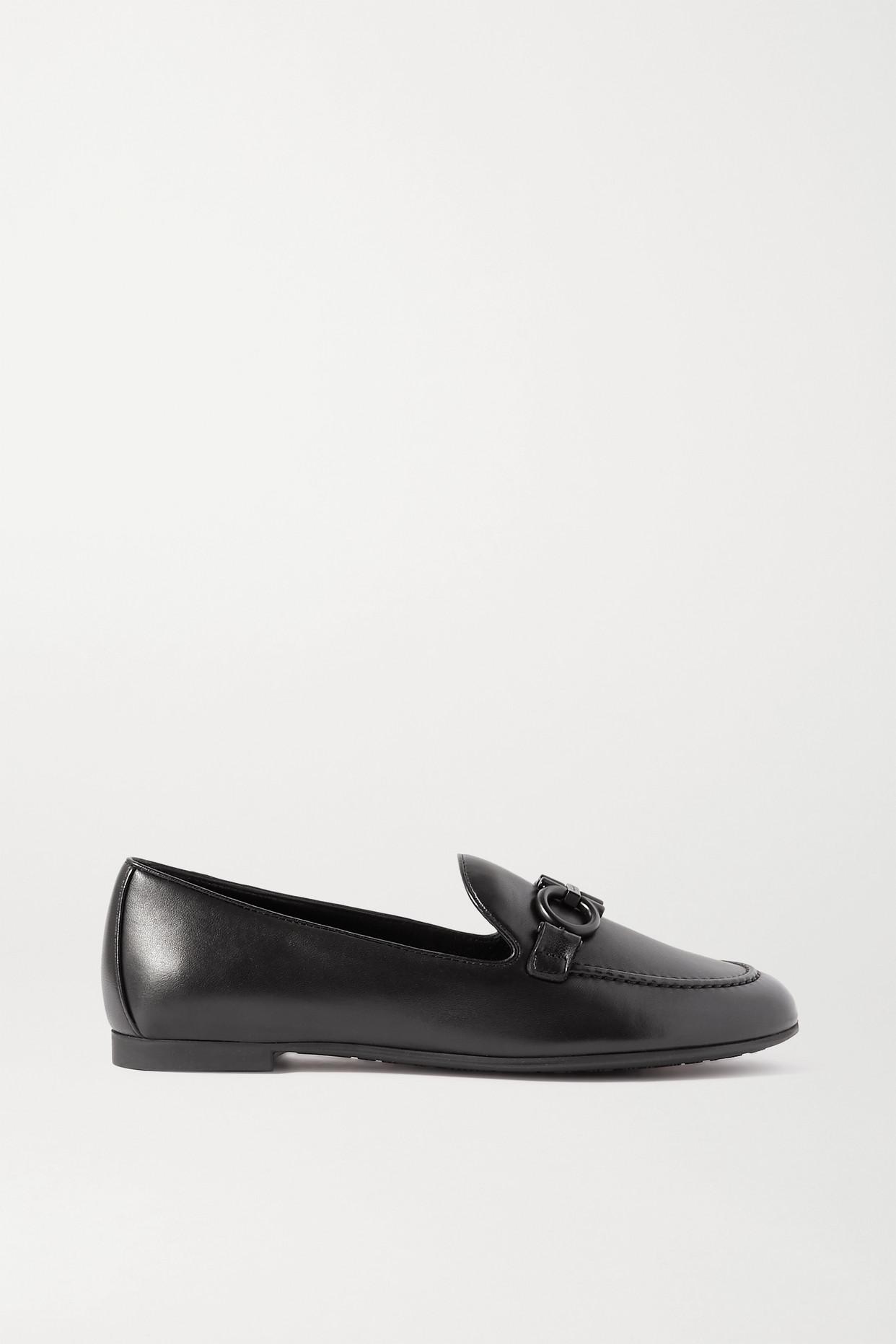 SALVATORE FERRAGAMO - 带缀饰皮革乐福鞋 - 黑色 - US10.5