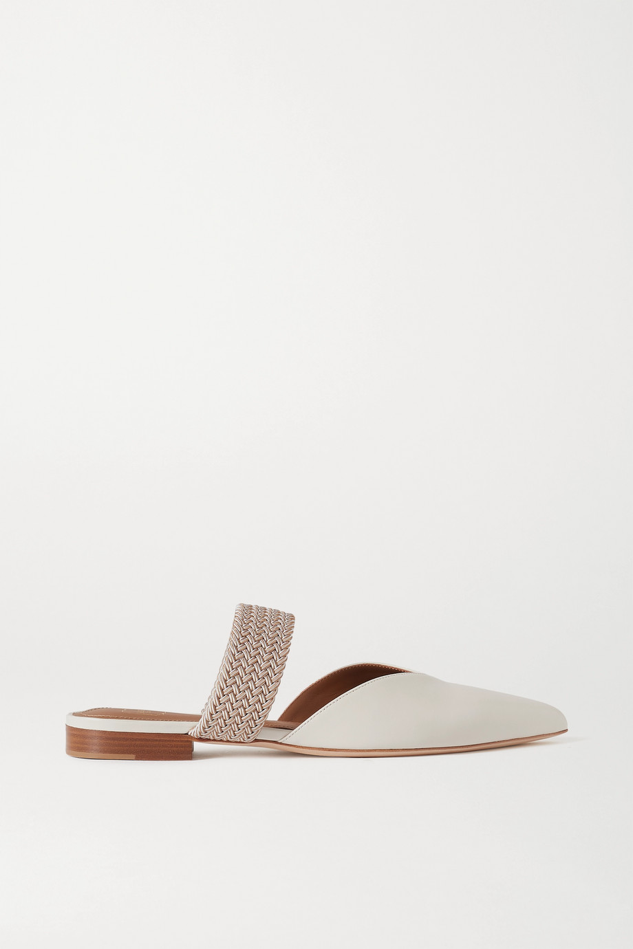 MALONE SOULIERS Maisie cord-trimmed leather mules