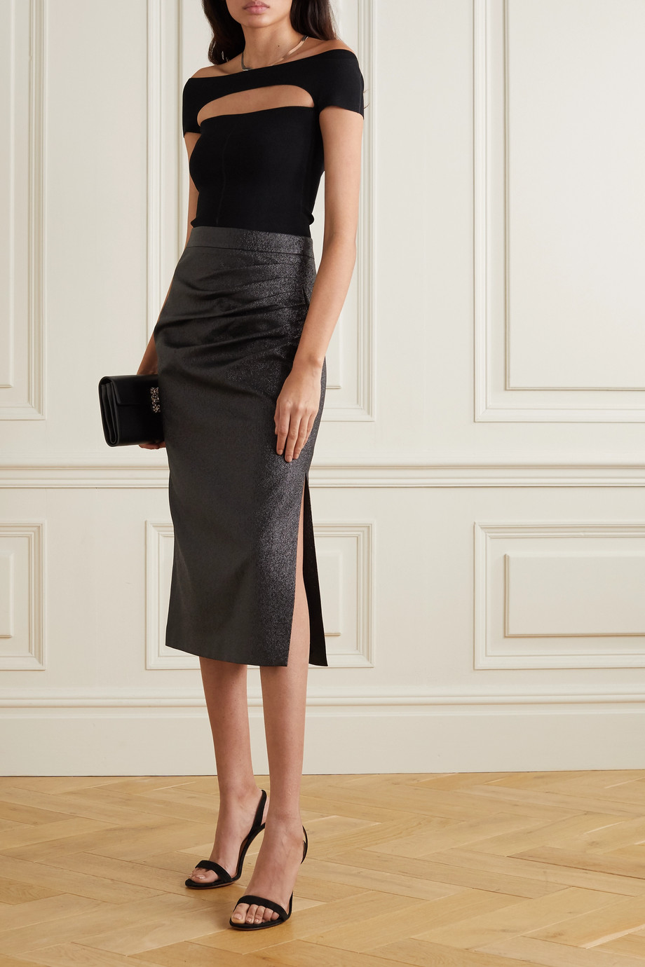 REBECCA VALLANCE Brillare gathered metallic crepe midi skirt