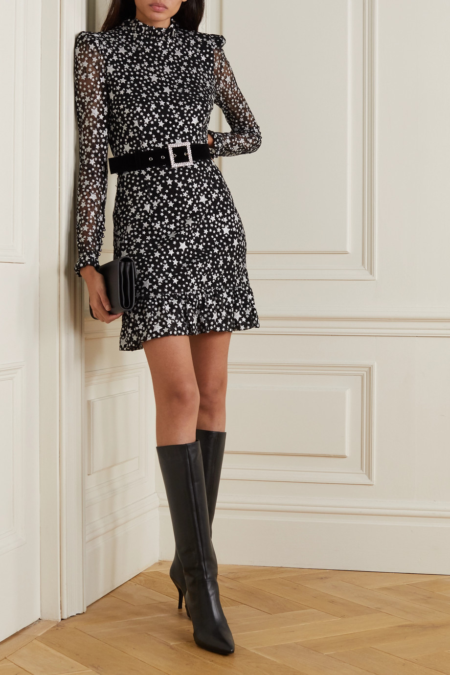REBECCA VALLANCE Notte belted printed lace mini dress