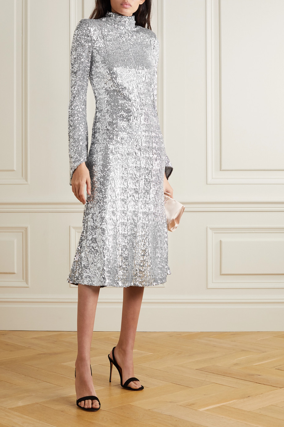 REBECCA VALLANCE Gatsby sequined crepe turtleneck midi dress
