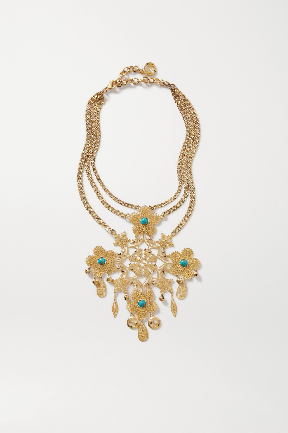 GUCCI Gold-tone and resin necklace