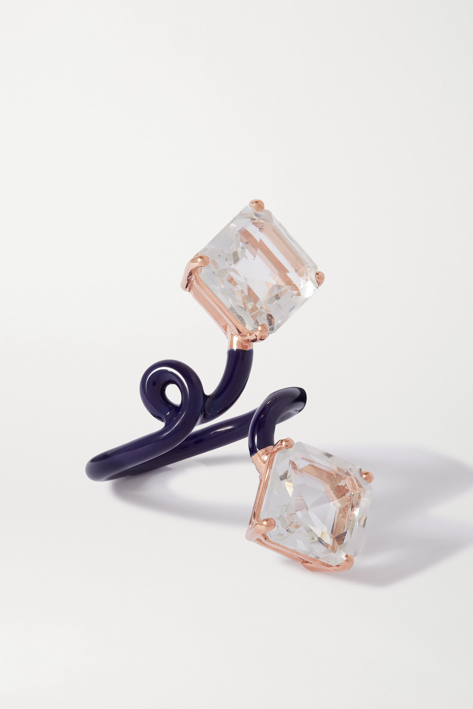 BEA BONGIASCA Double Octagon Tendril 9-karat rose gold, enamel and rock crystal ring