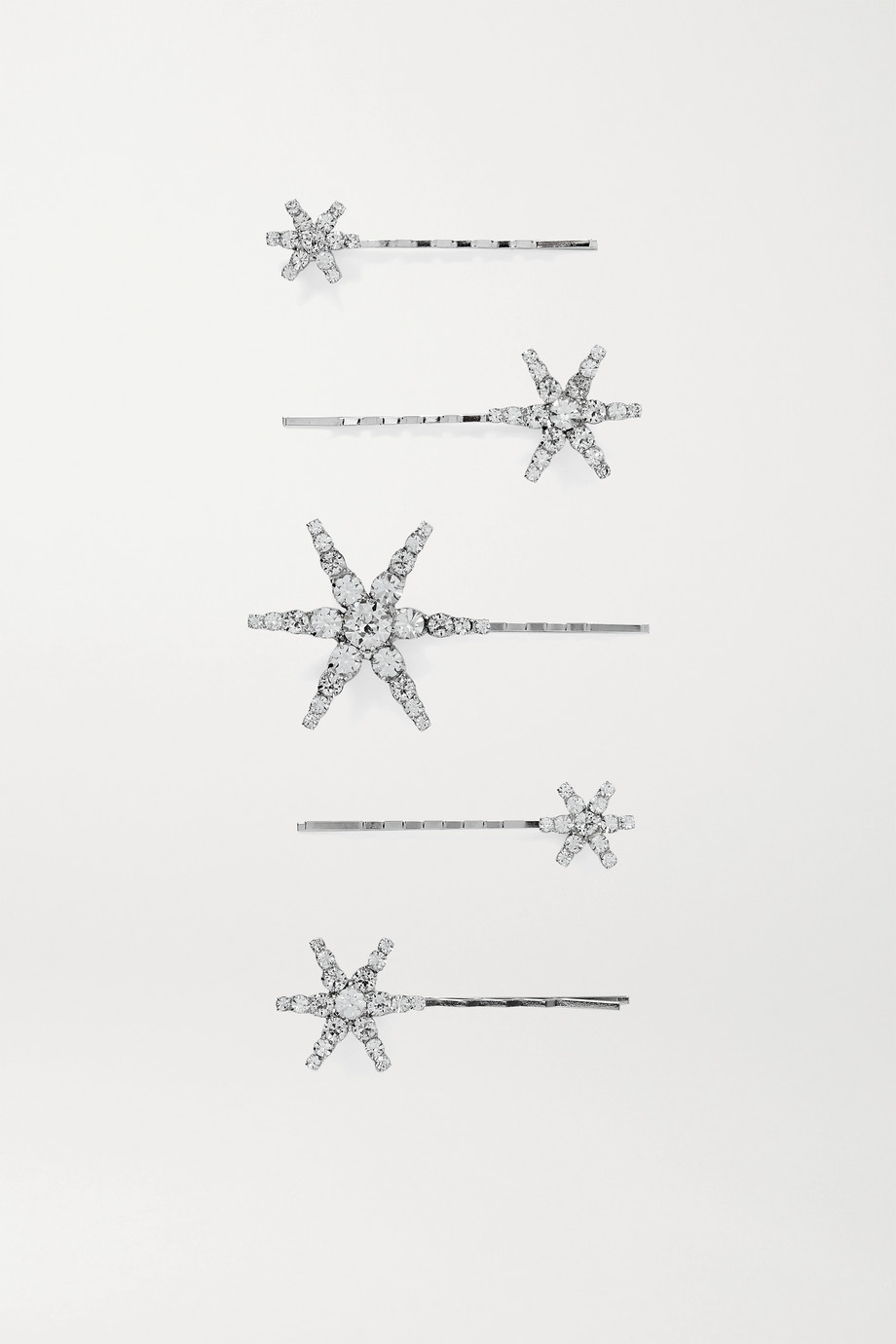 JENNIFER BEHR Vespera set of five crystal-embellished silver-tone hair slides