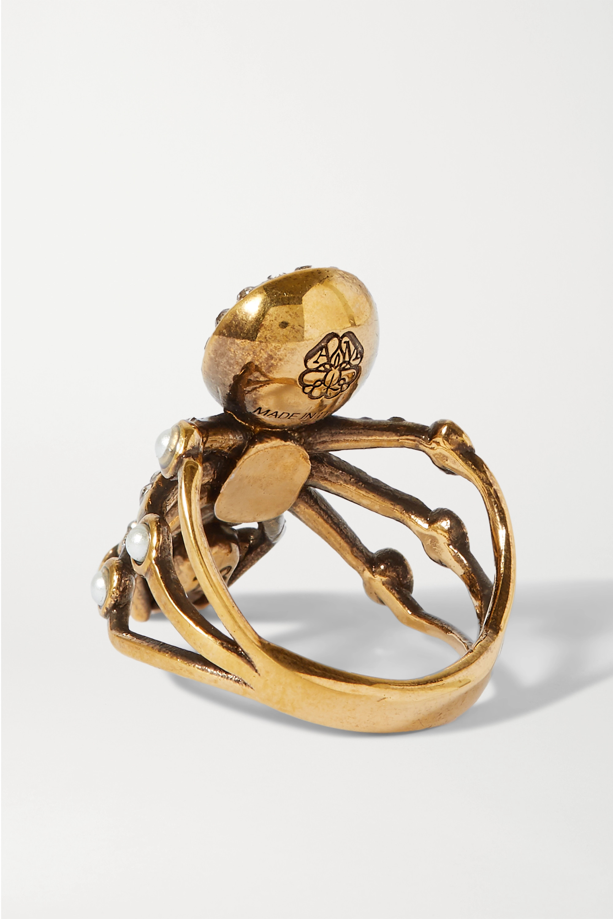 ALEXANDER MCQUEEN Gold-tone, faux pearl and crystal ring