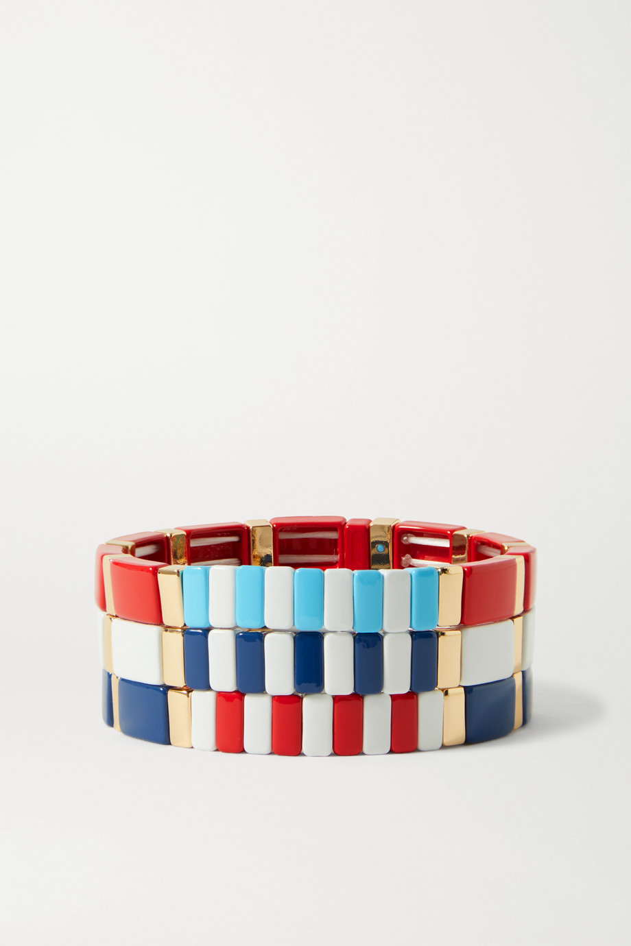 ROXANNE ASSOULIN Rock the Vote set of three enamel and gold-tone bracelets