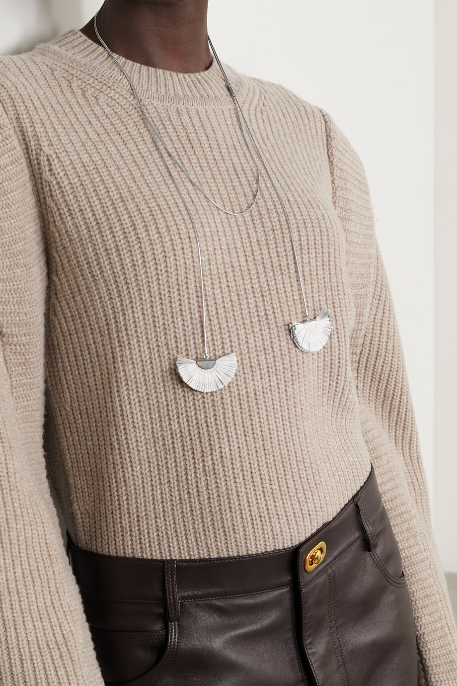 ISABEL MARANT Silver-tone and leather necklace