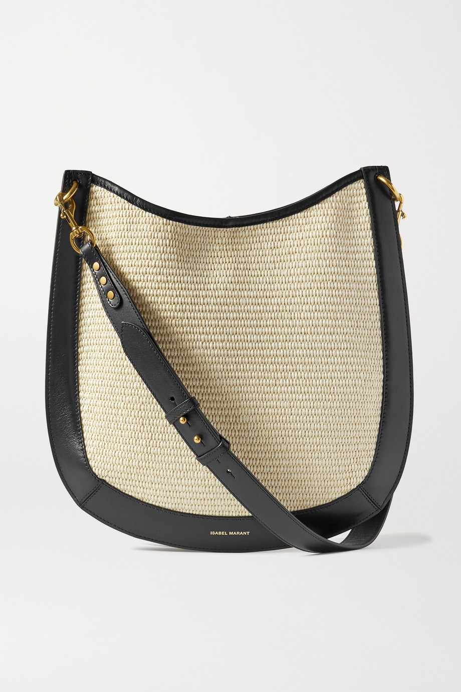ISABEL MARANT Moskan leather-trimmed raffia shoulder bag