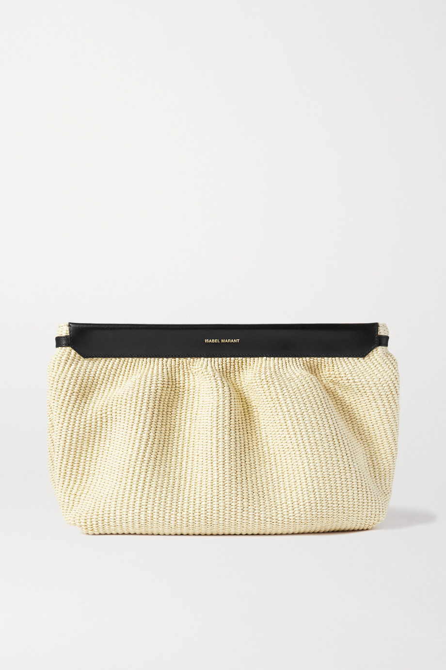 ISABEL MARANT Luz leather-trimmed raffia clutch