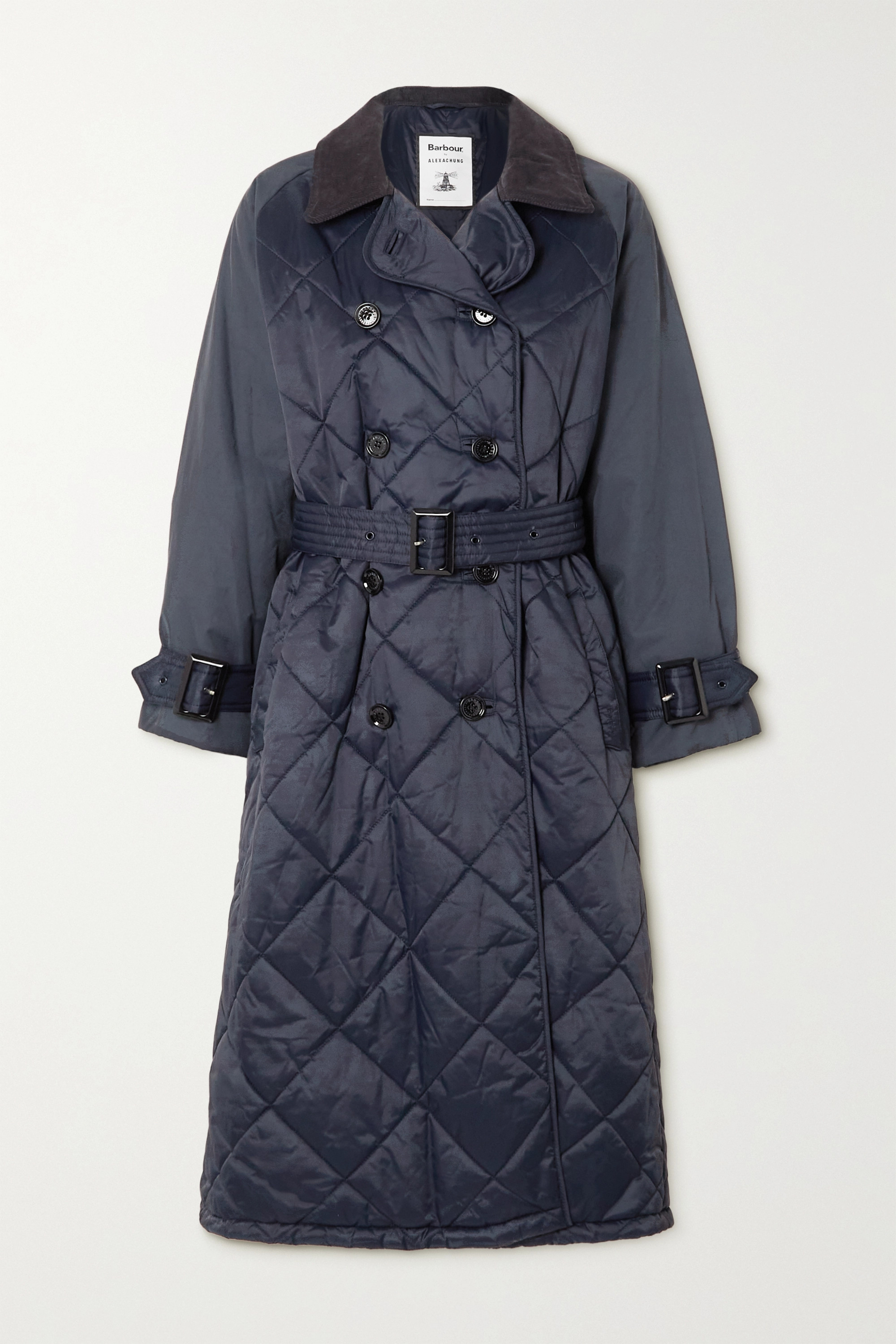 BARBOUR + ALEXACHUNG Delia corduroy-trimmed quilted shell trench coat
