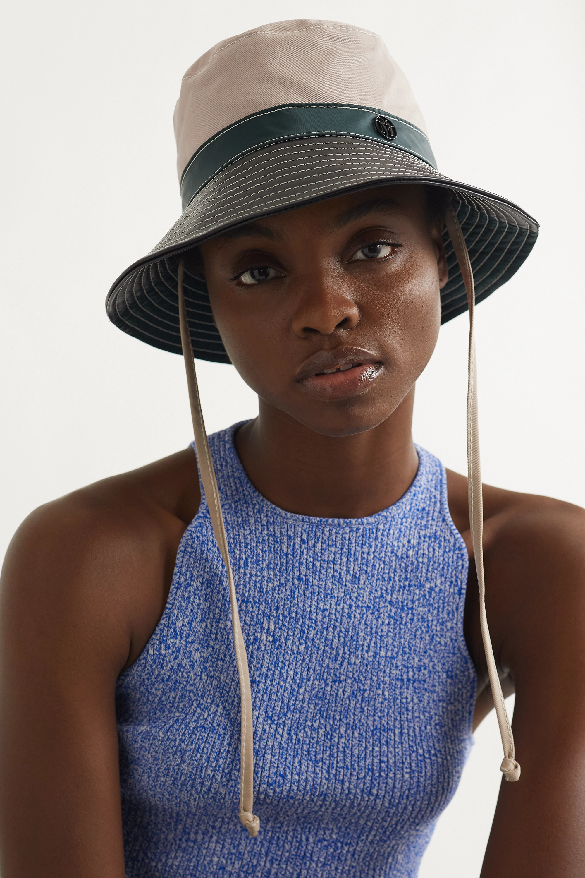 MAISON MICHEL Angele paneled leather, shell and twill bucket hat