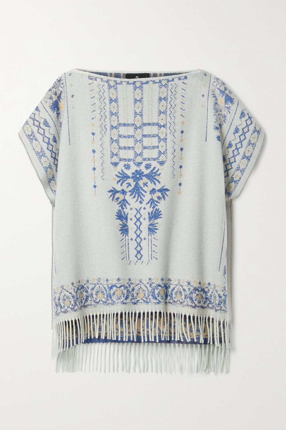 ETRO Fringed cashmere and wool-blend jacquard poncho