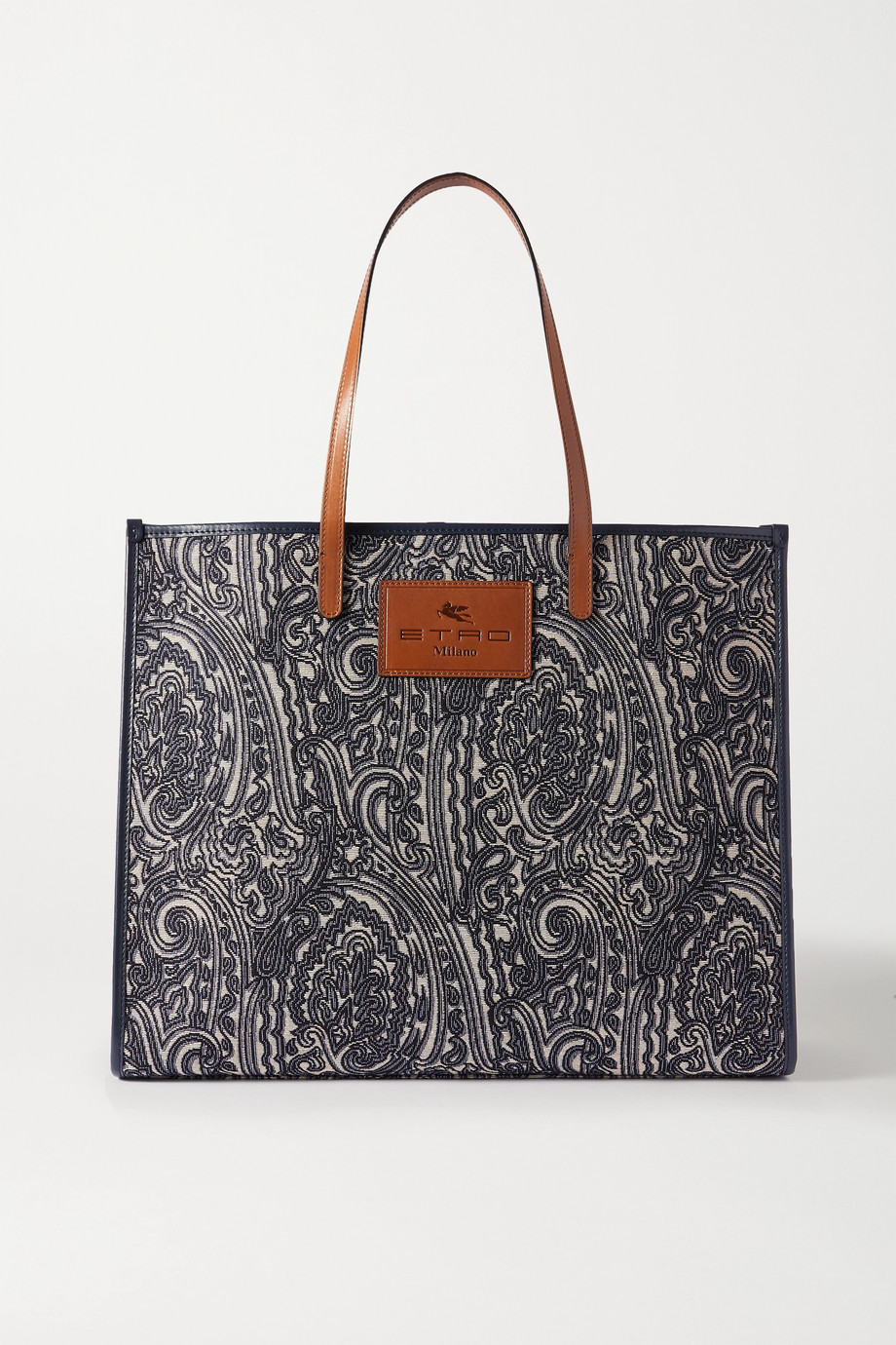ETRO Globetrotter leather-trimmed jacquard tote