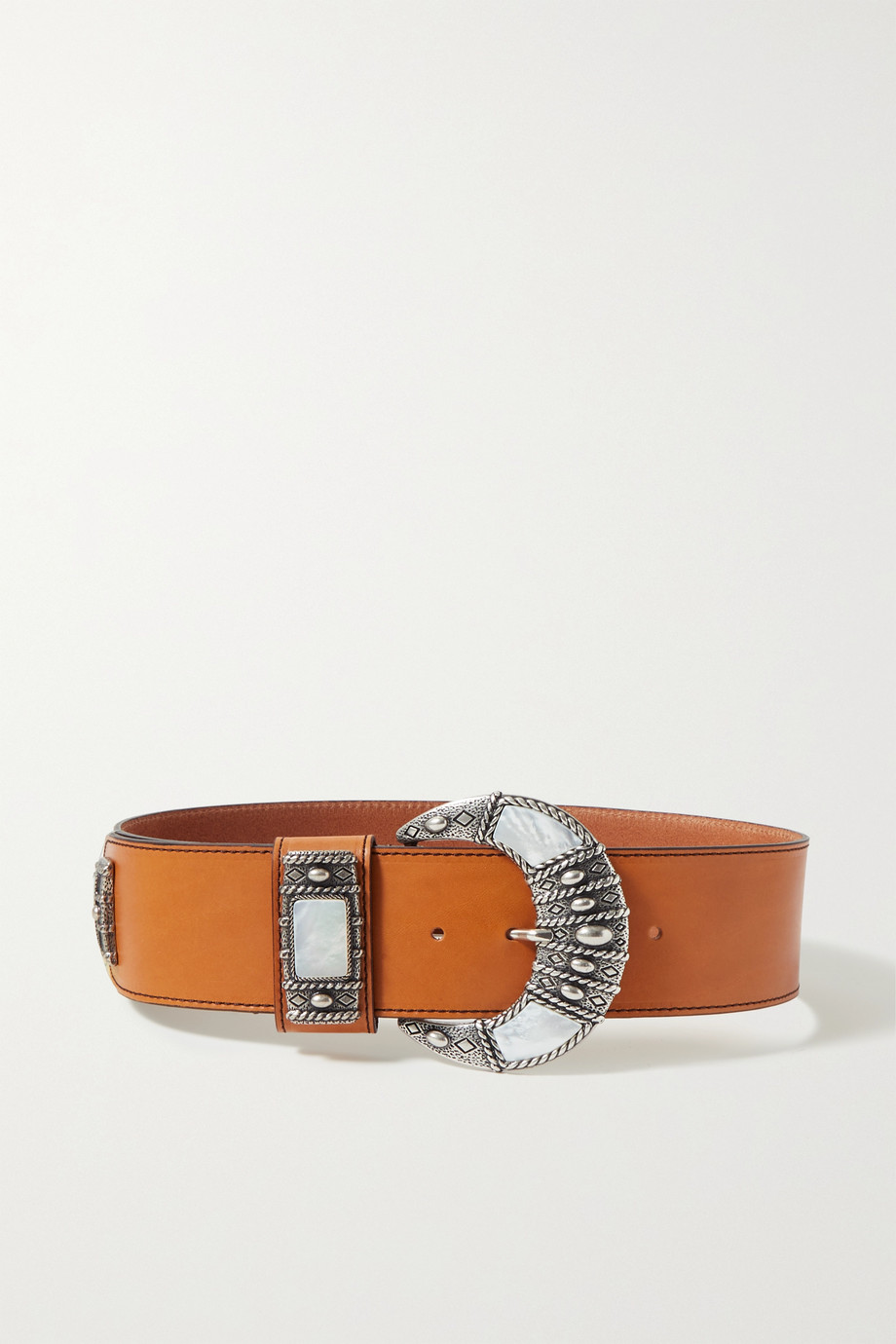 ETRO Leather and mother-of-pearl belt