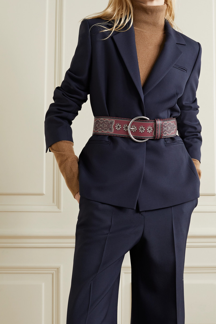 ETRO Printed textured-leather belt