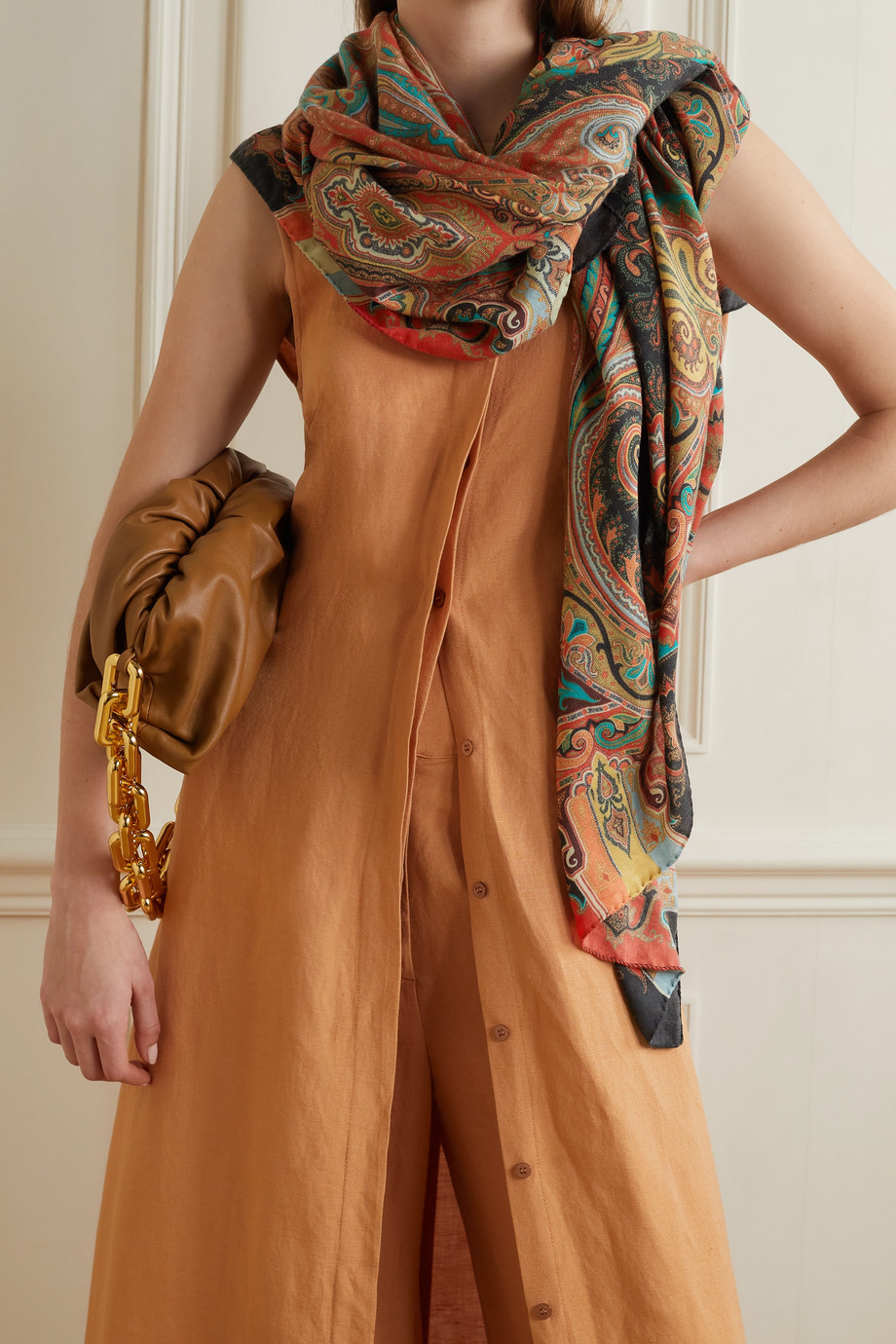 ETRO Printed herringbone cashmere and silk-blend scarf