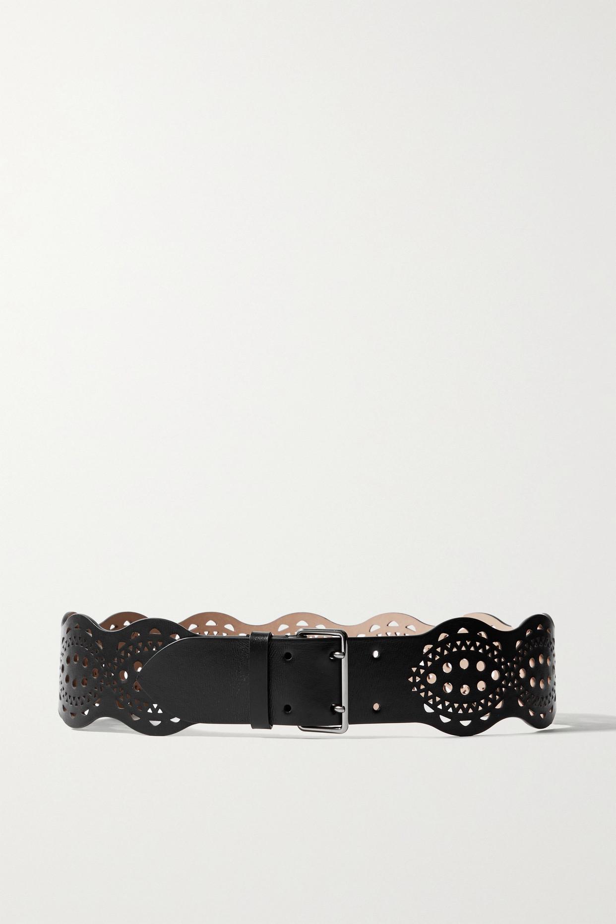ALAÏA - Laser-cut Leather Waist Belt - Black - 70