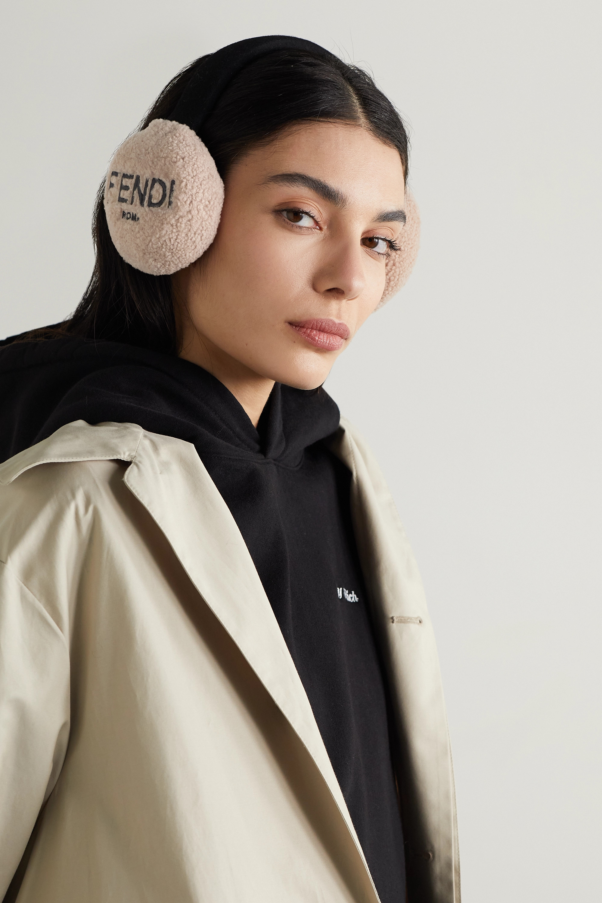 FENDI Embroidered shearling and wool-felt earmuffs