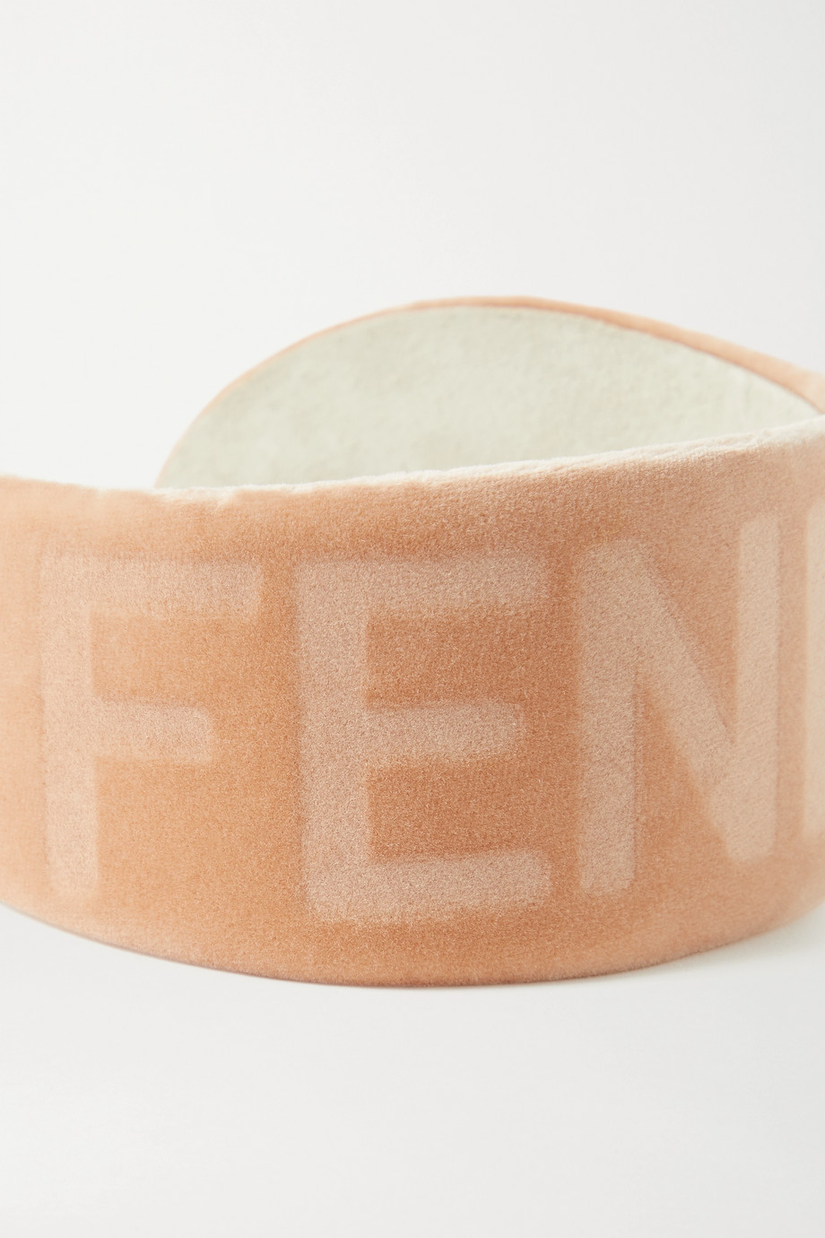 FENDI Logo-debossed cotton-velvet headband