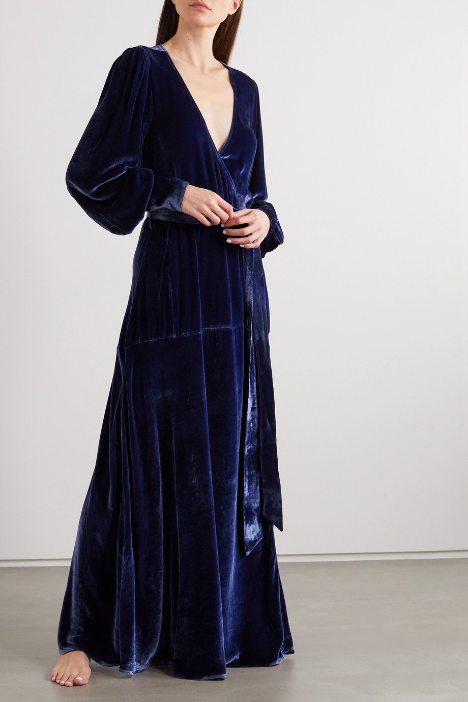 SLEEPING WITH JACQUES The Sylvia velvet wrap maxi dress
