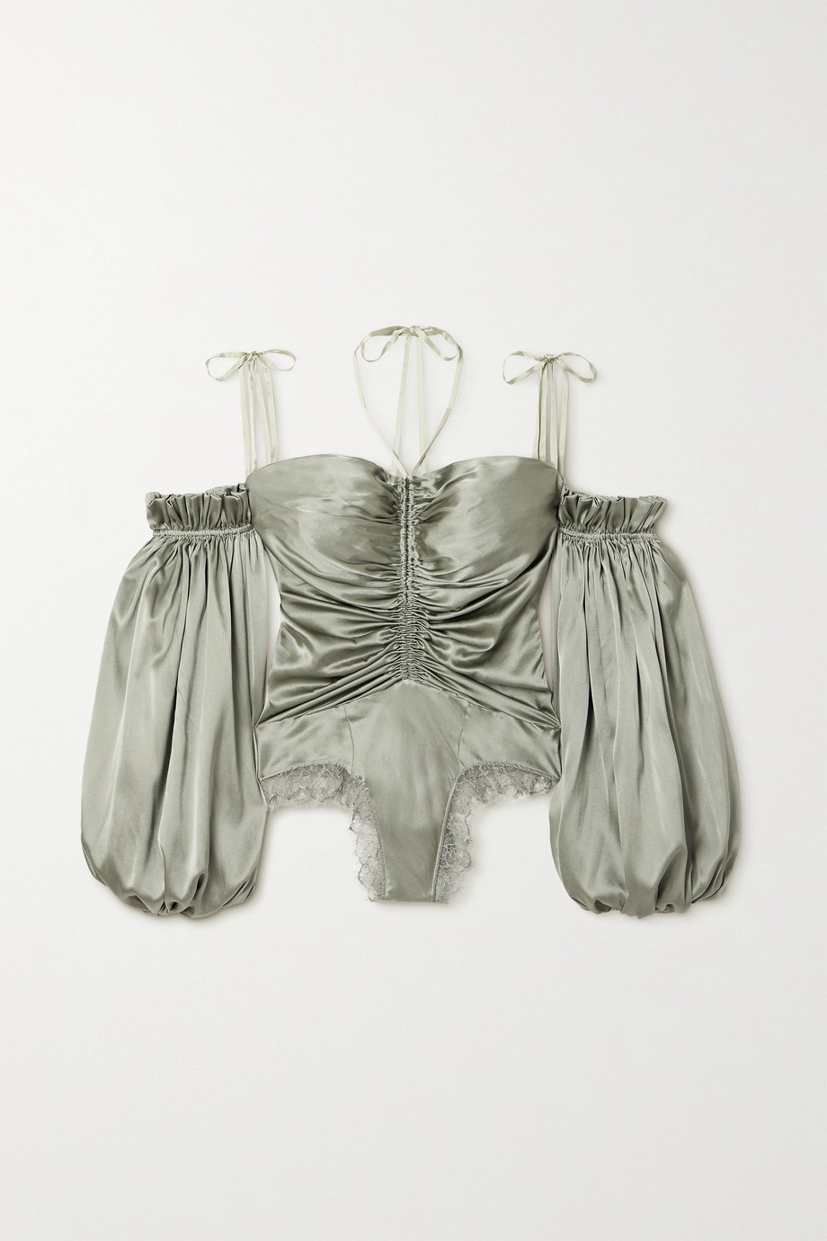 SLEEPING WITH JACQUES Bronte off-the-shouder lace-trimmed silk-blend satin bodysuit