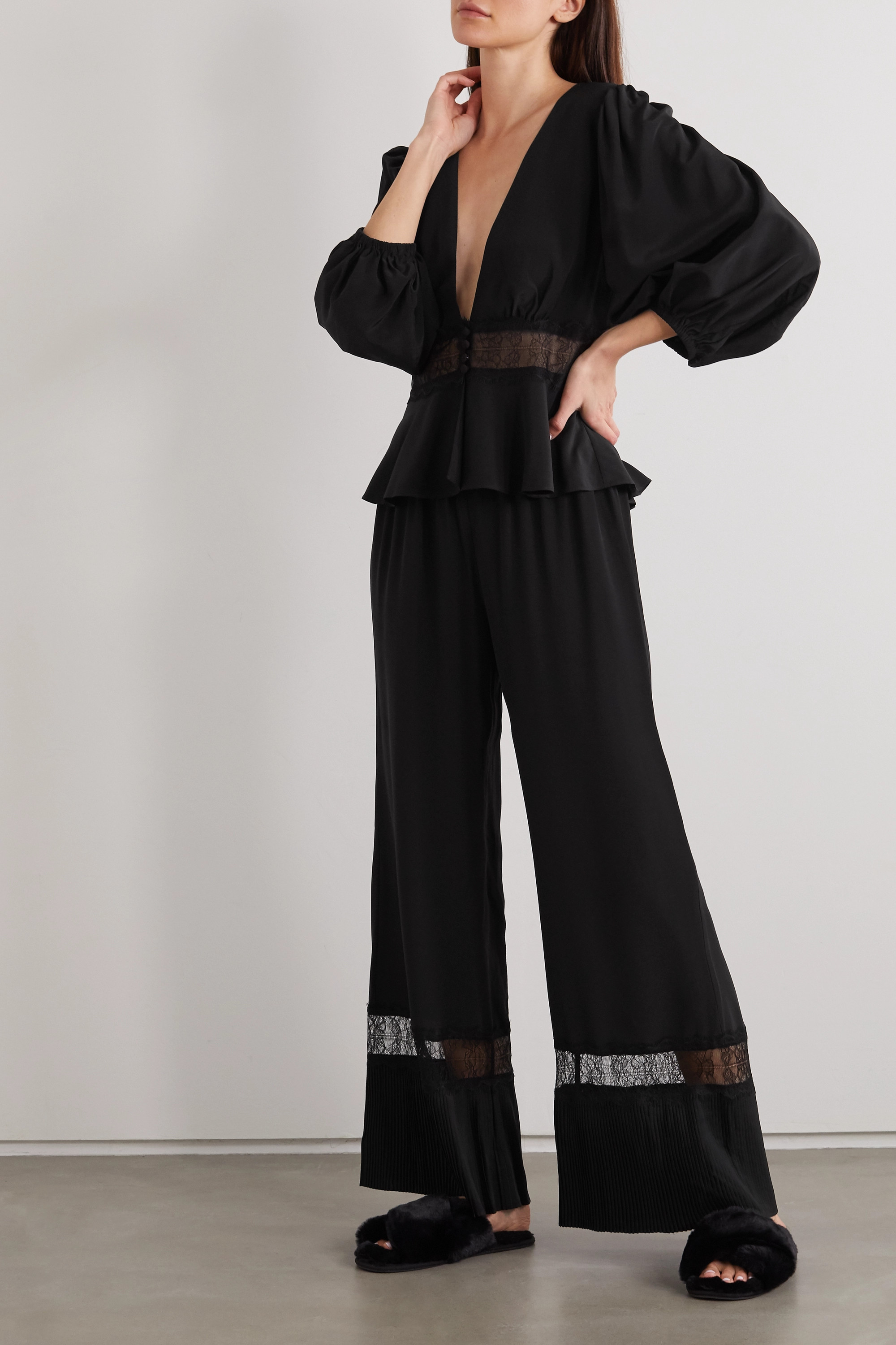 SLEEPING WITH JACQUES The Osiris lace-trimmed plissé-silk crepe de chine pajama pants