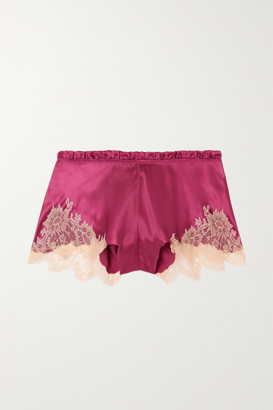 CARINE GILSON Flottant Chantilly lace-trimmed silk-satin shorts