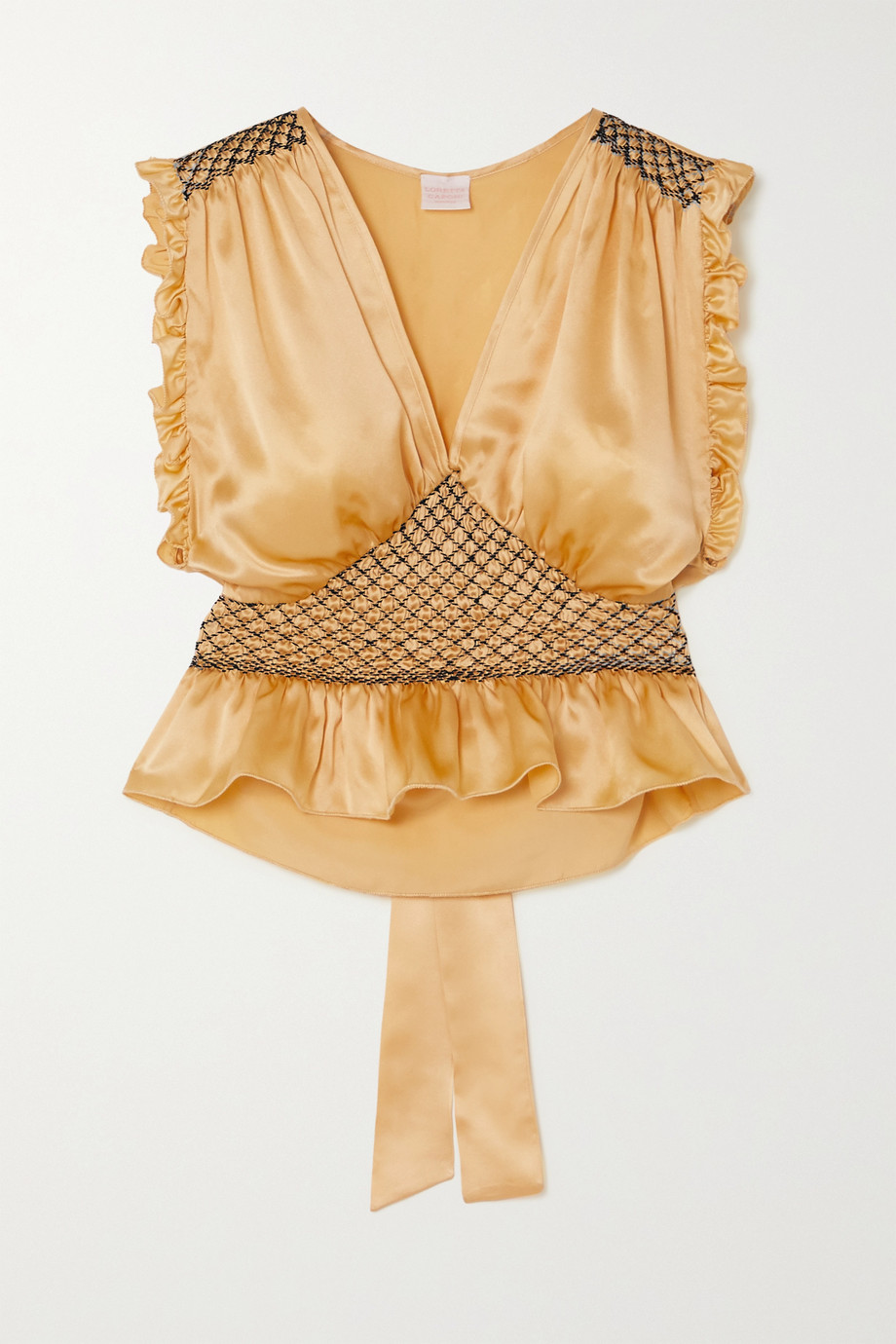 LORETTA CAPONI Valeria cropped bow-detailed ruffled smocked silk-satin top