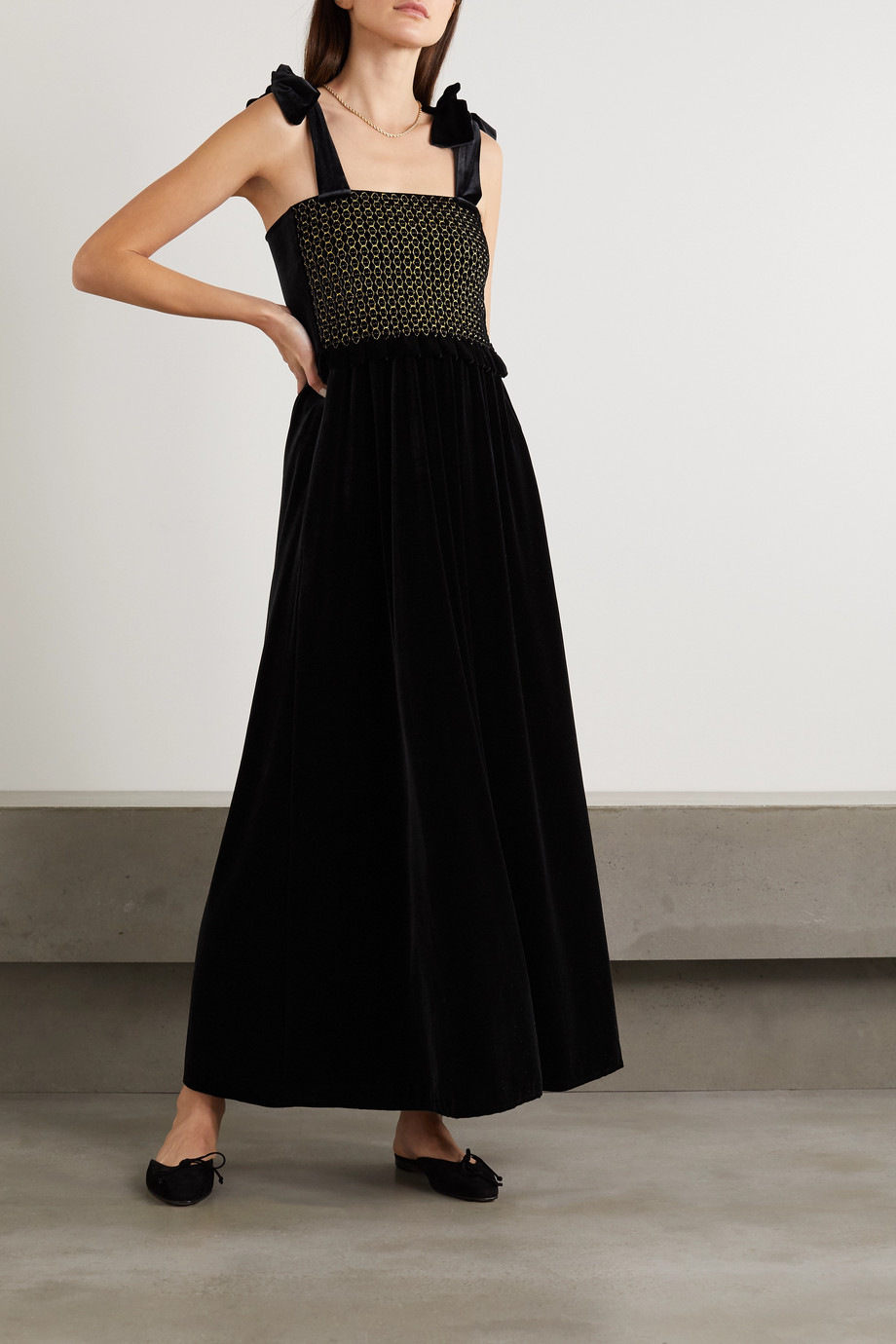 LORETTA CAPONI Laudomia bow-detailed smocked stretch-velvet maxi dress