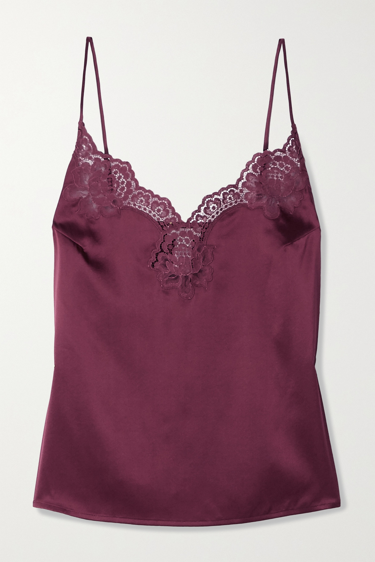 FLEUR DU MAL - James Lace-trimmed Silk-blend Satin Camisole - Purple - x small
