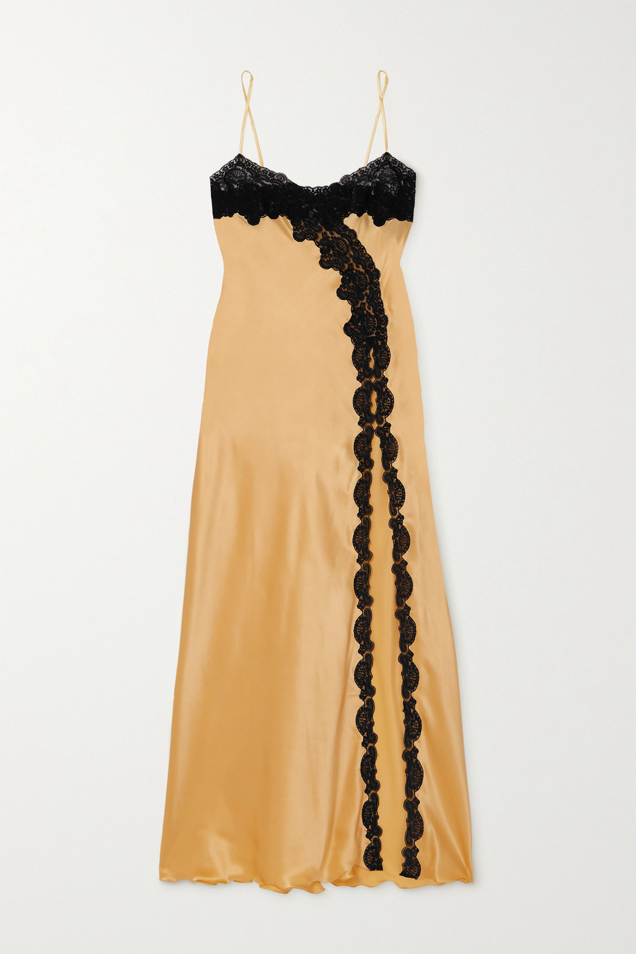 LORETTA CAPONI Nausica lace-trimmed silk-satin maxi dress