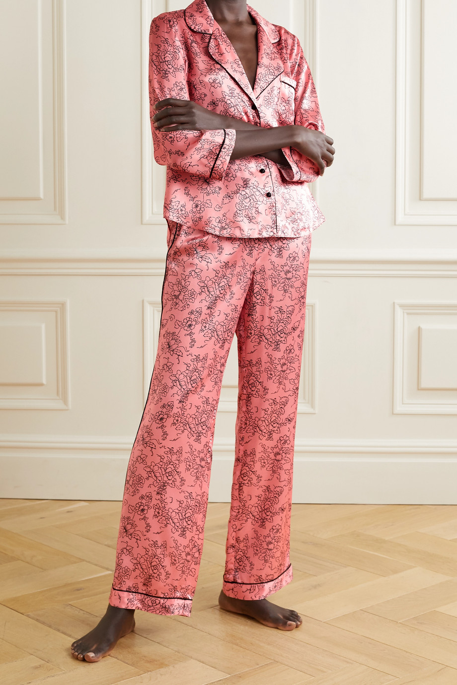 MORGAN LANE Parker piped floral-print satin pajama pants